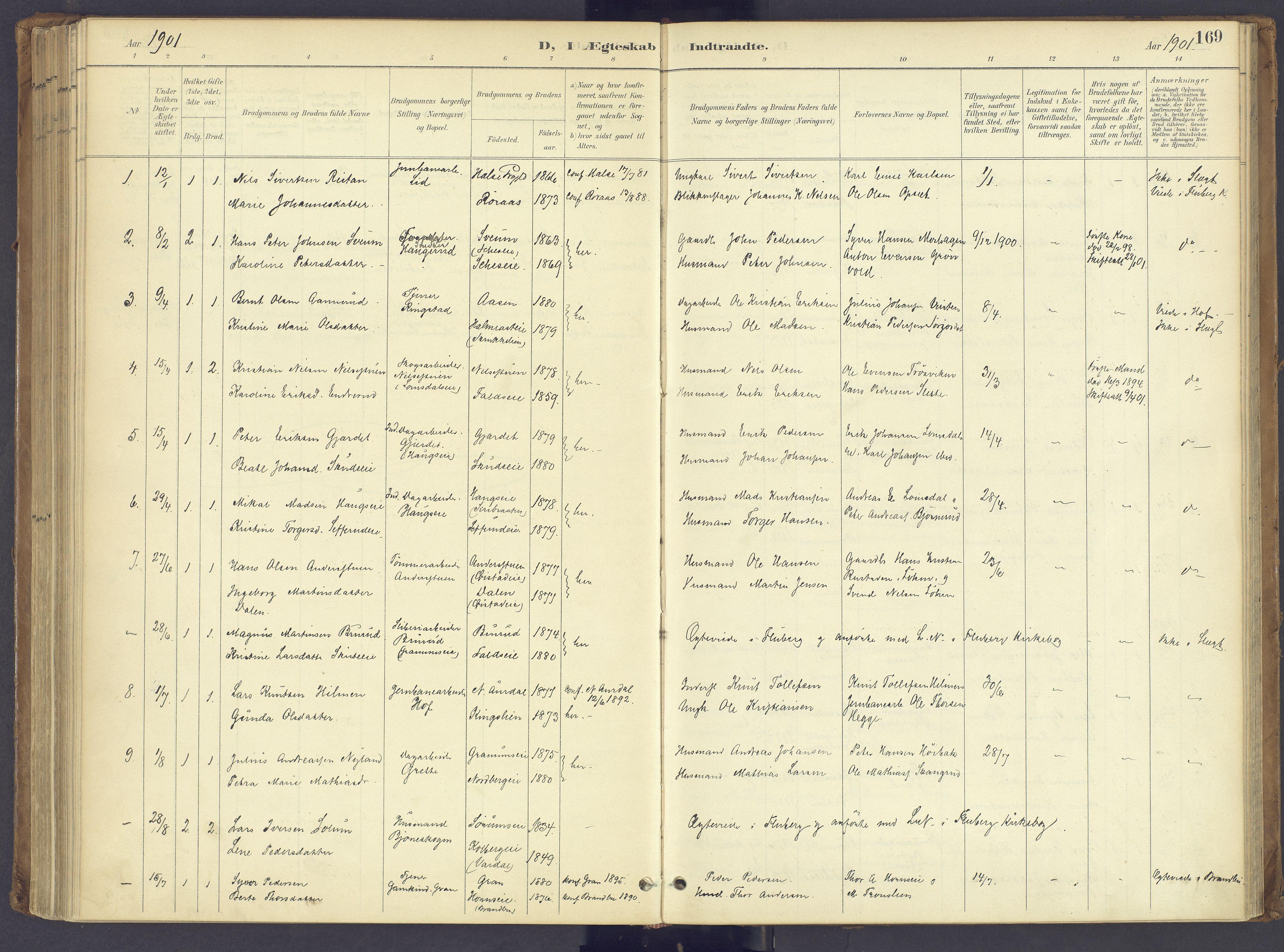 SAH, Søndre Land prestekontor, K/L0006: Parish register (official) no. 6, 1895-1904, p. 169