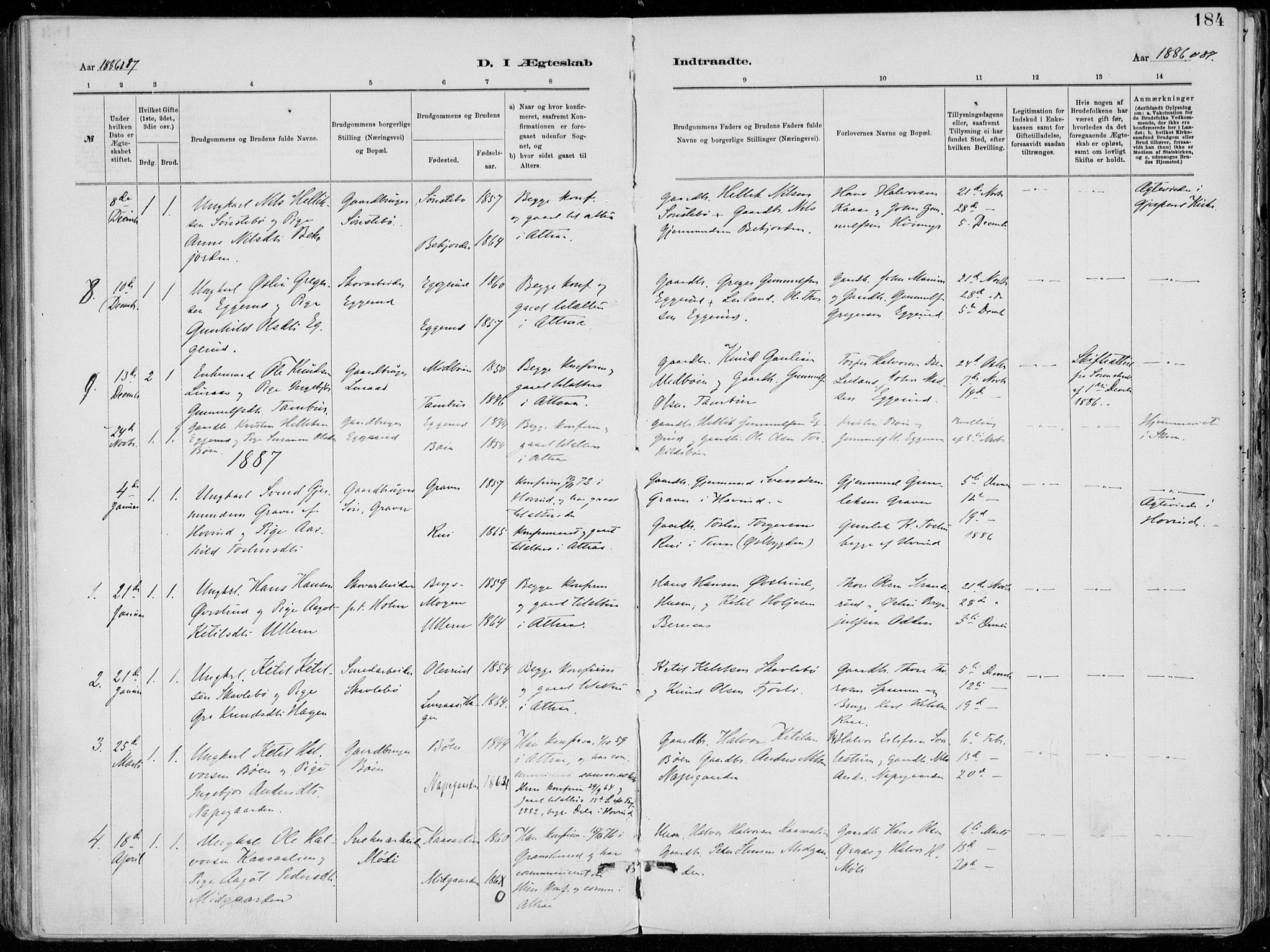 SAKO, Tinn kirkebøker, F/Fa/L0007: Parish register (official) no. I 7, 1878-1922, p. 184