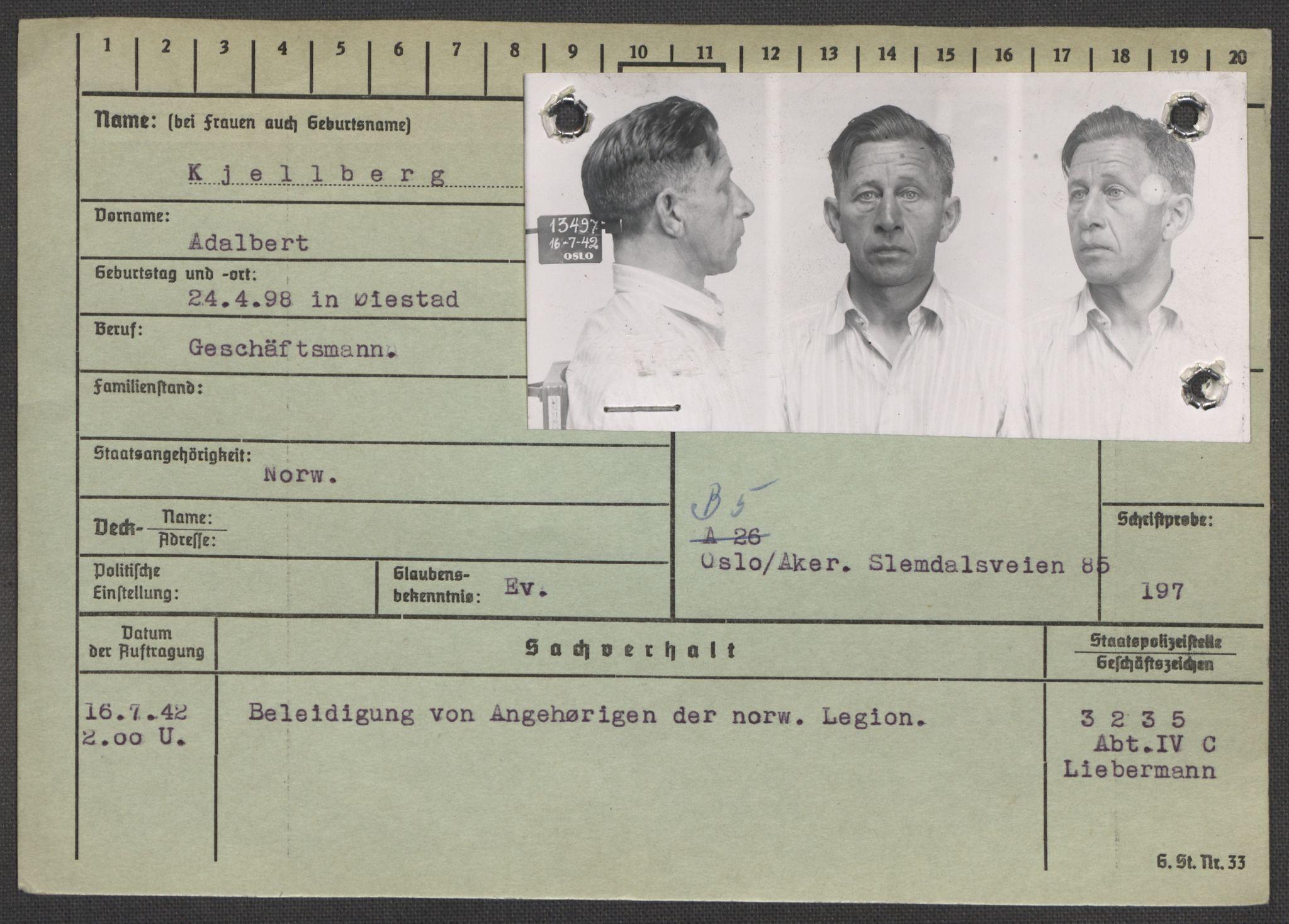 RA, Befehlshaber der Sicherheitspolizei und des SD, E/Ea/Eaa/L0006: Register over norske fanger i Møllergata 19: Kj-Lund, 1940-1945, p. 2