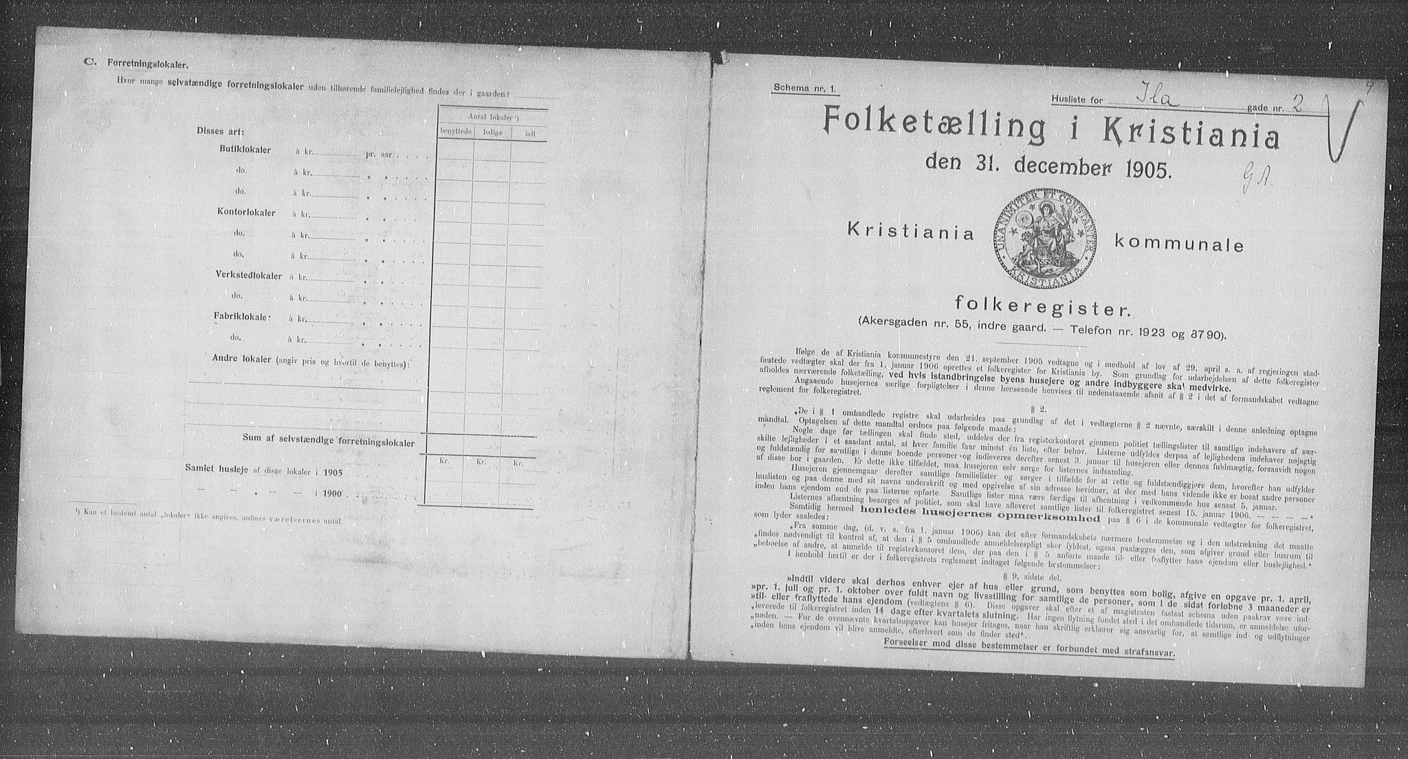 OBA, Municipal Census 1905 for Kristiania, 1905, p. 22732