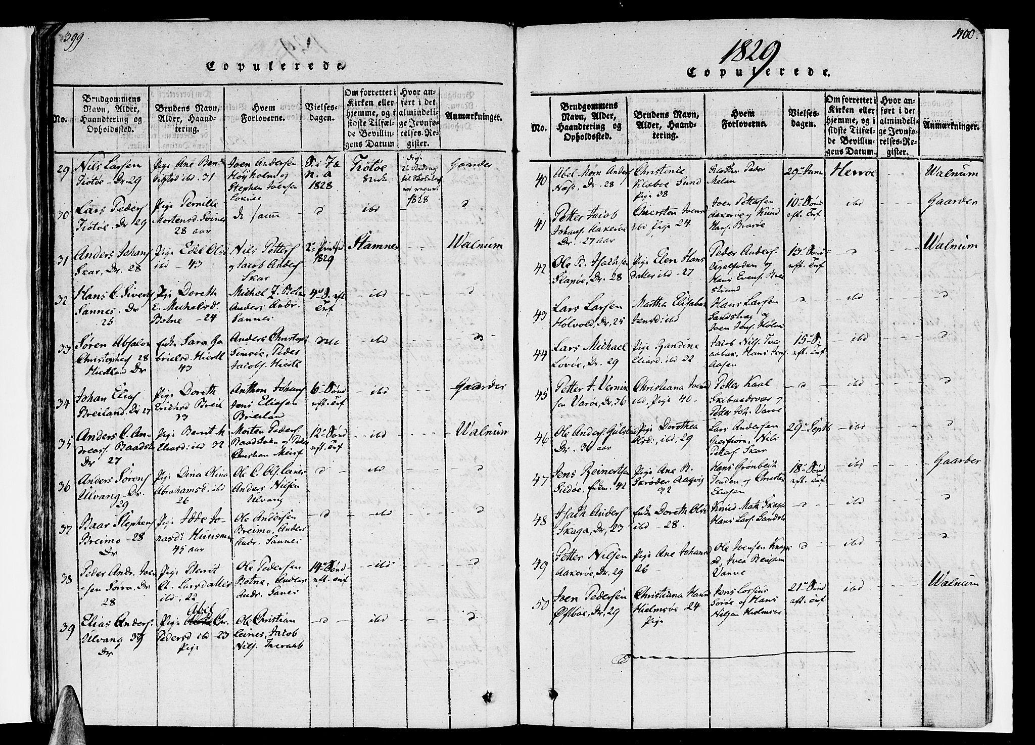 SAT, Ministerialprotokoller, klokkerbøker og fødselsregistre - Nordland, 830/L0445: Parish register (official) no. 830A09, 1820-1830, p. 399-400