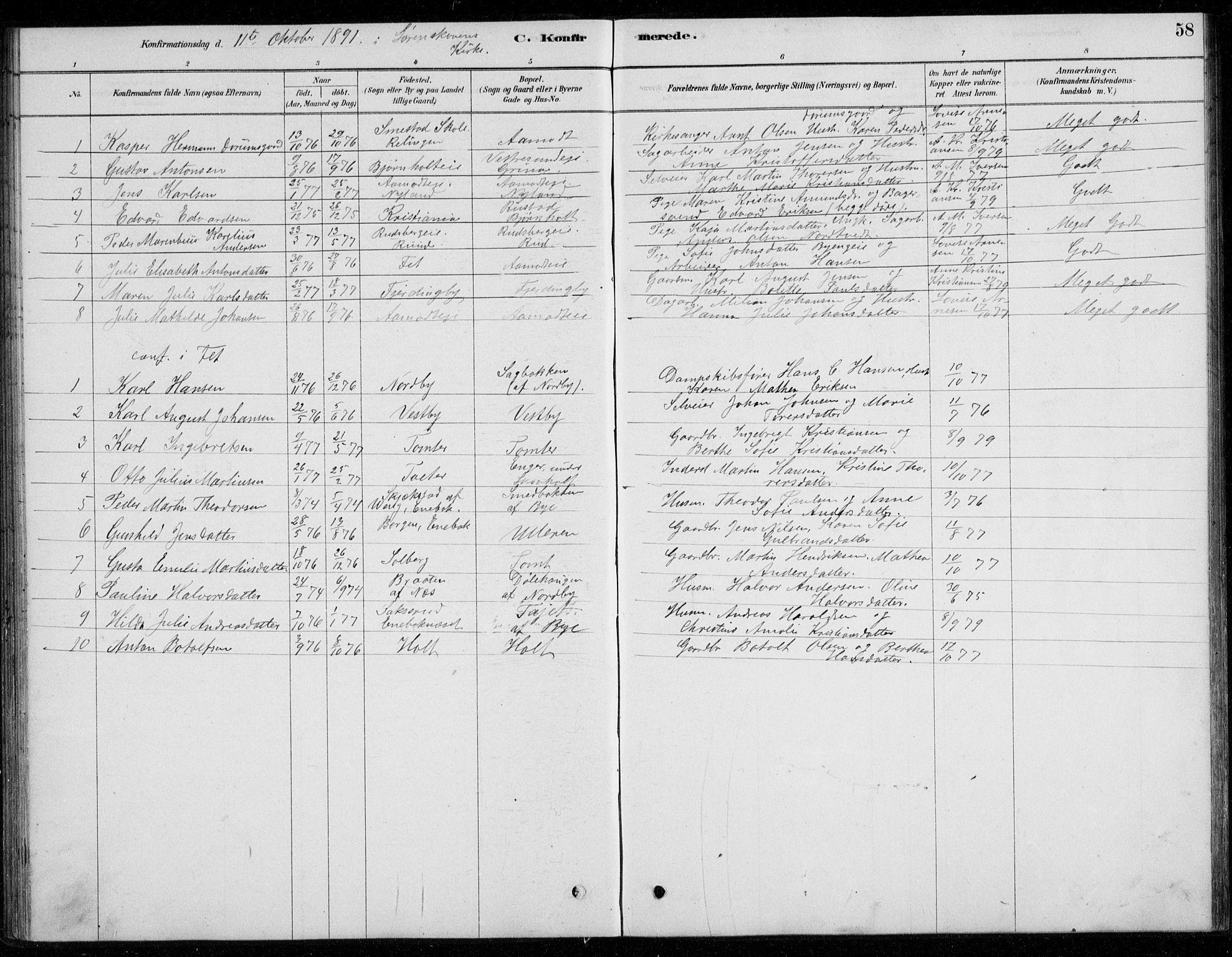 SAO, Fet prestekontor Kirkebøker, G/Gb/L0002: Parish register (copy) no. II 2, 1878-1911, p. 58