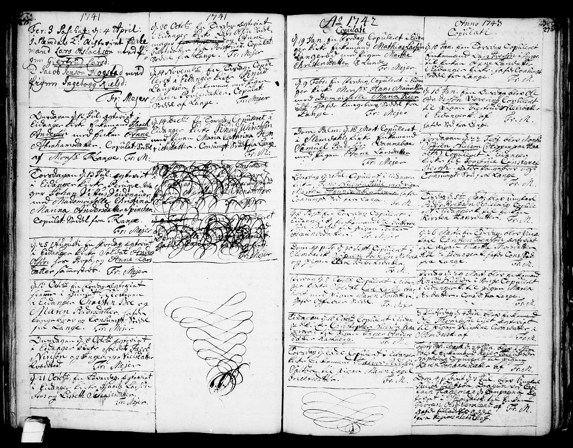 SAKO, Eidanger kirkebøker, F/Fa/L0004: Parish register (official) no. 4, 1733-1759, p. 275-276