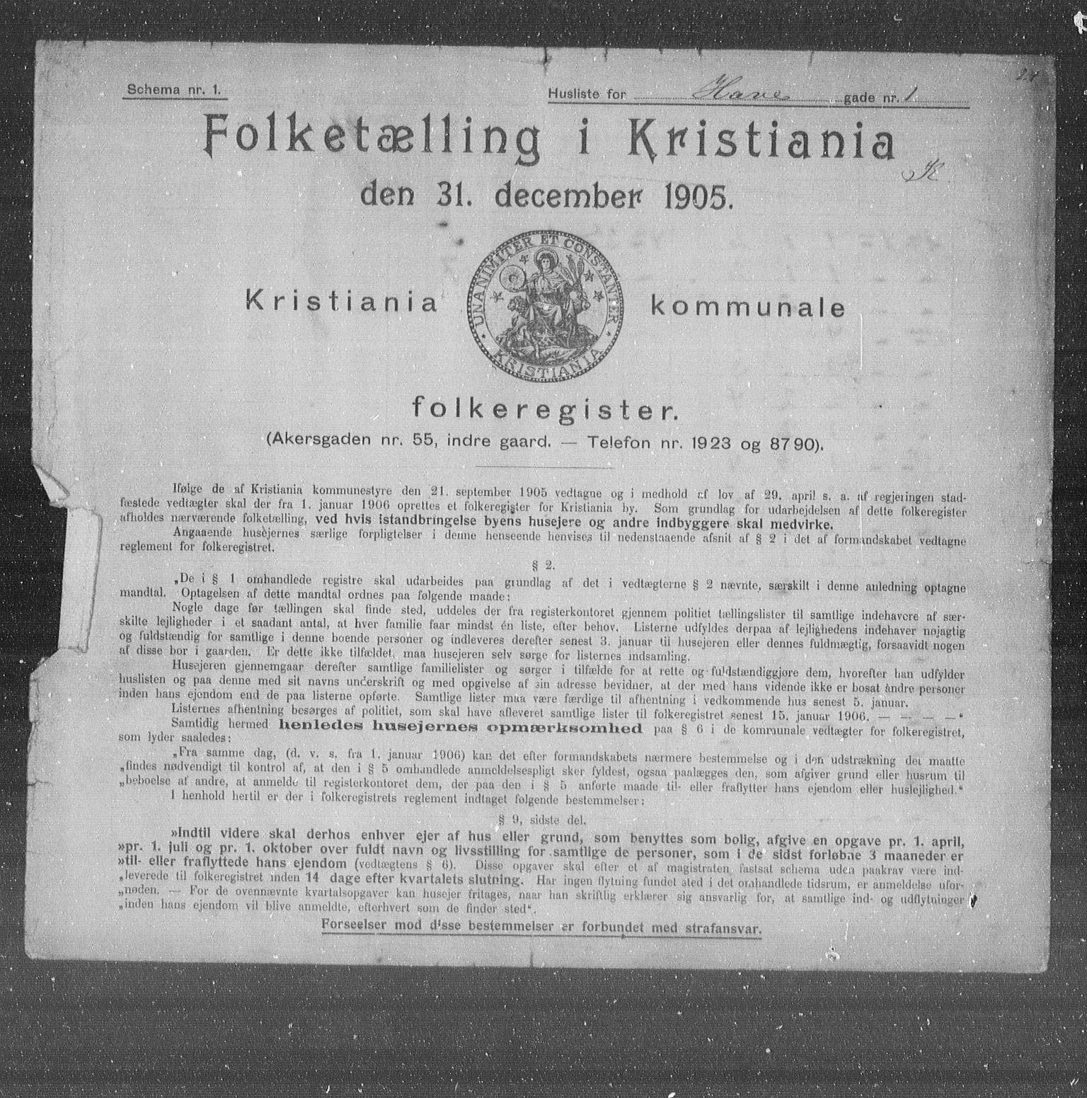 OBA, Municipal Census 1905 for Kristiania, 1905, p. 18461