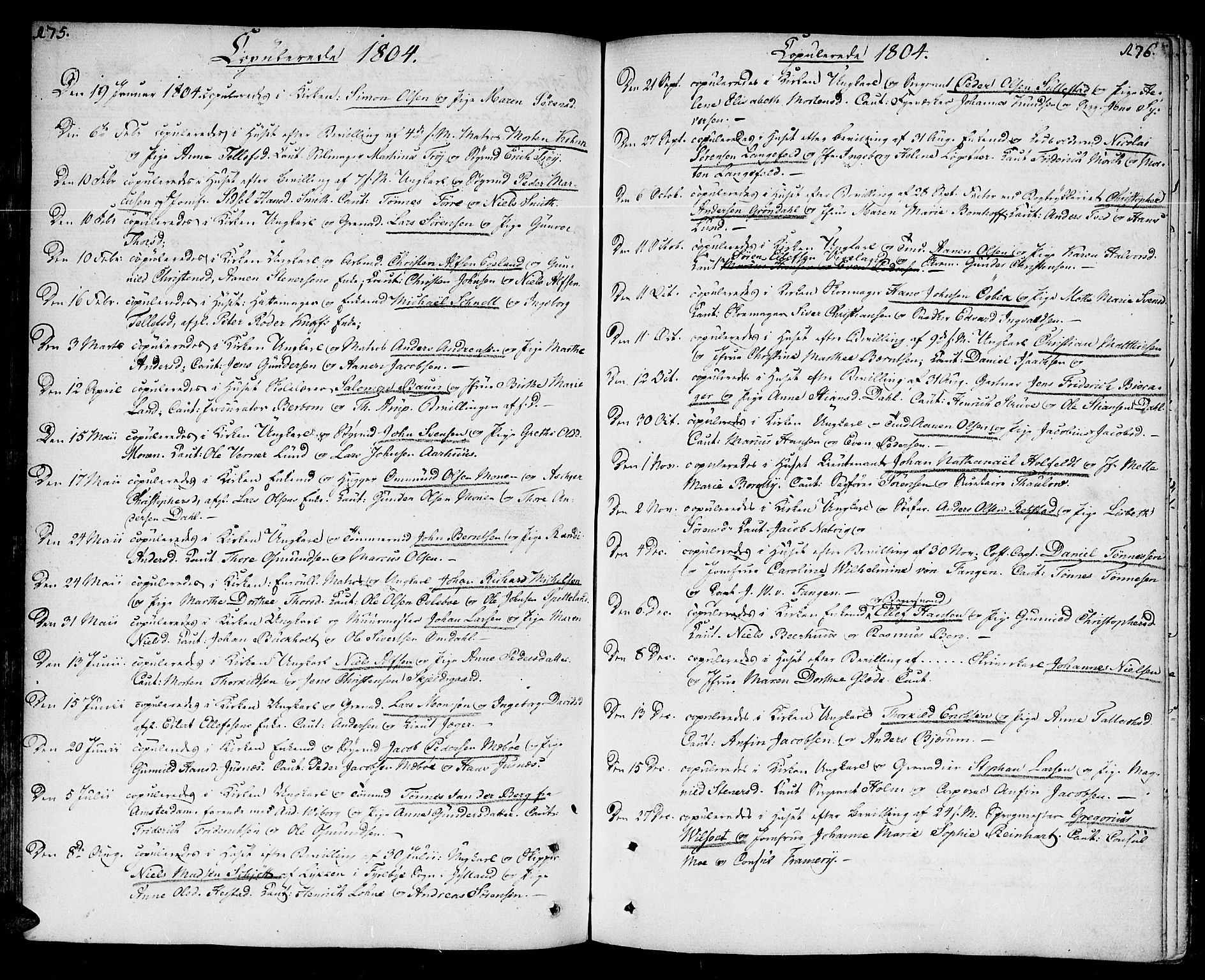 SAK, Kristiansand domprosti, F/Fa/L0005: Parish register (official) no. A 5, 1776-1818, p. 175-176