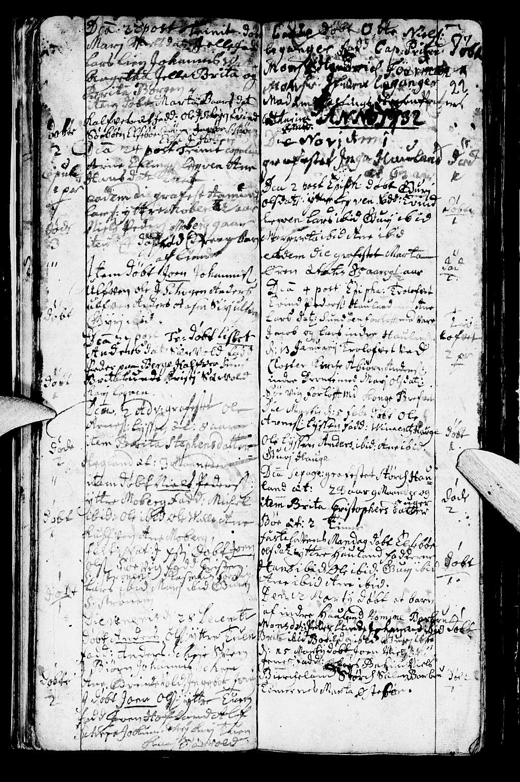 SAB, Os sokneprestembete*, Parish register (official) no. A 2, 1723-1758, p. 22