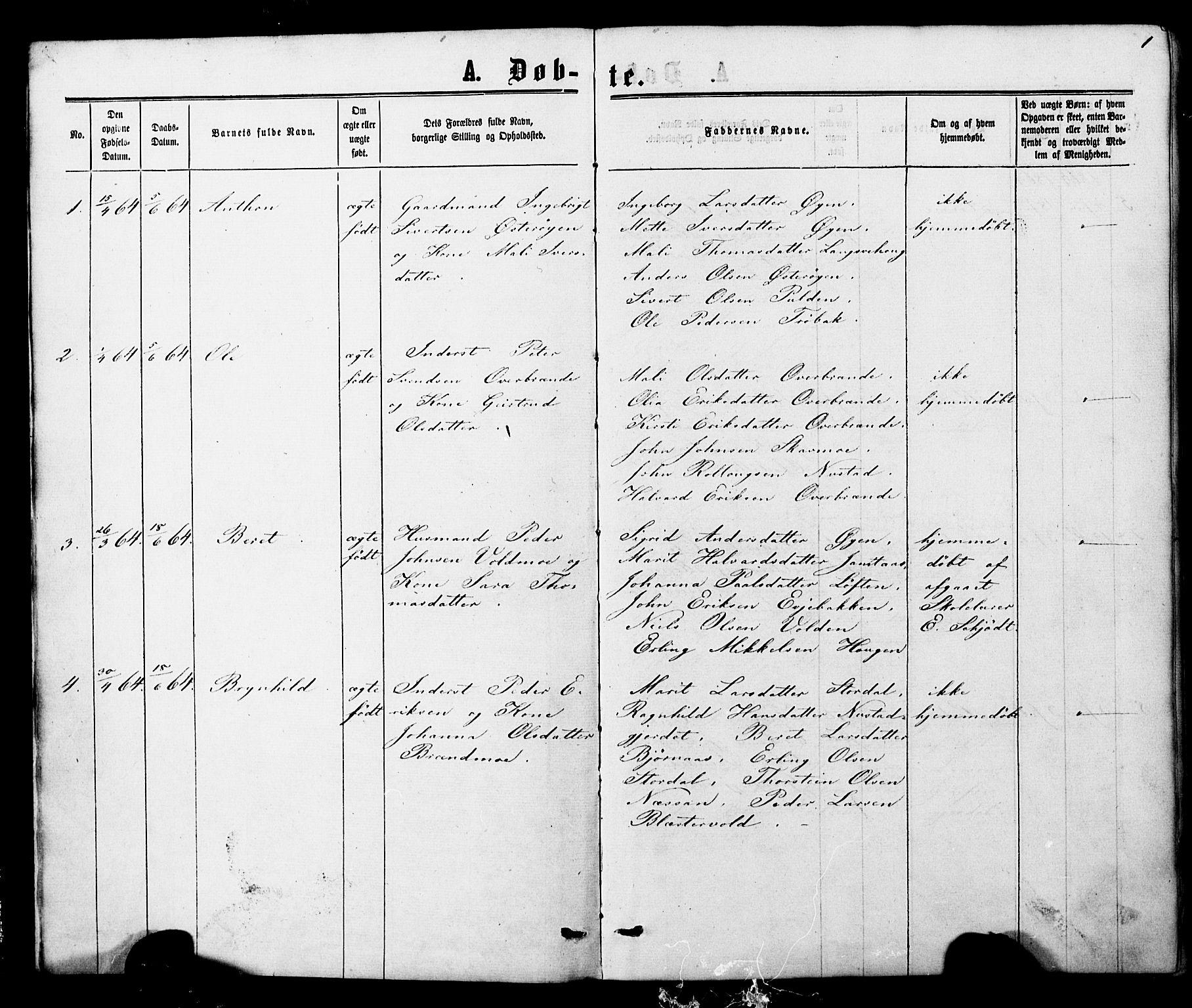SAT, Ministerialprotokoller, klokkerbøker og fødselsregistre - Nord-Trøndelag, 706/L0049: Parish register (copy) no. 706C01, 1864-1895, p. 1