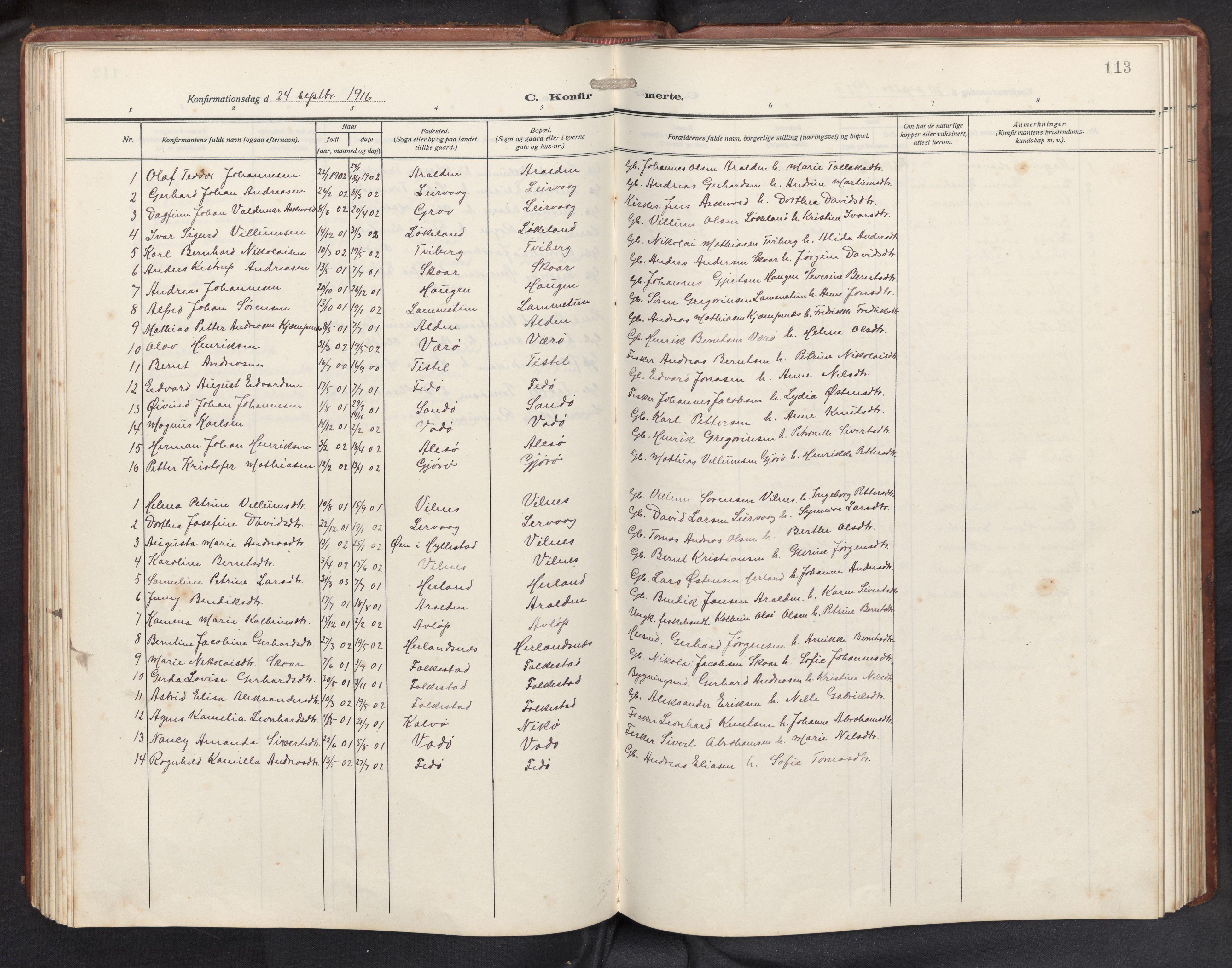 SAB, Askvoll sokneprestembete, H/Hab/Habb/L0002: Parish register (copy) no. B 2, 1910-1947, p. 112b-113a