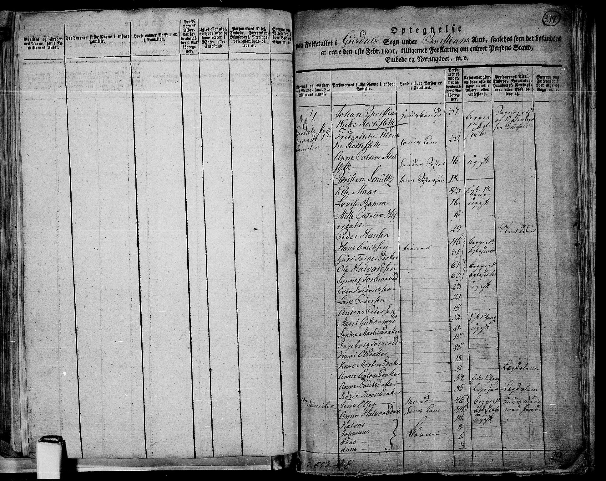RA, 1801 census for 0522P Gausdal, 1801, p. 318b-319a