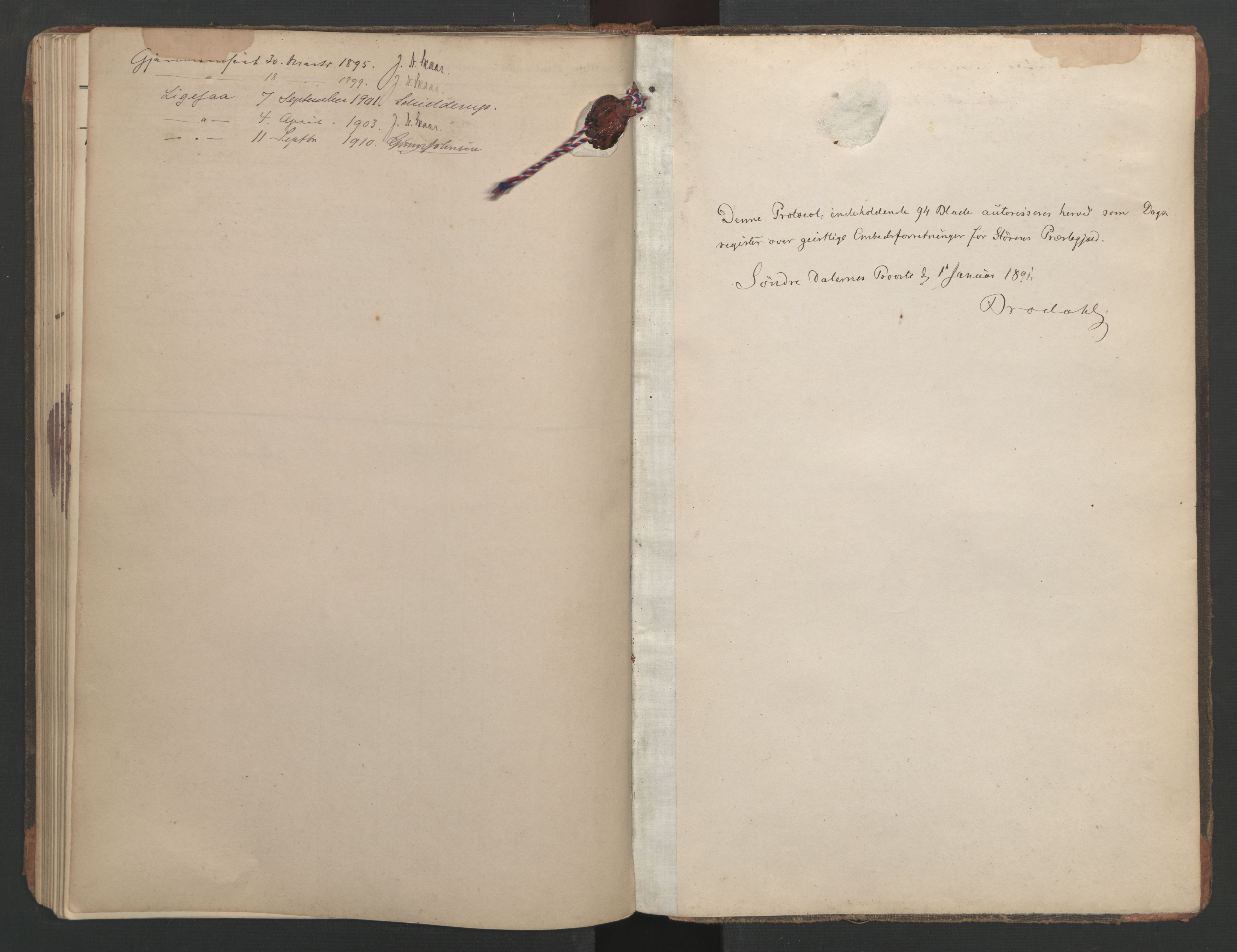 SAT, Ministerialprotokoller, klokkerbøker og fødselsregistre - Sør-Trøndelag, 687/L1005: Diary records no. 687A11, 1891-1912