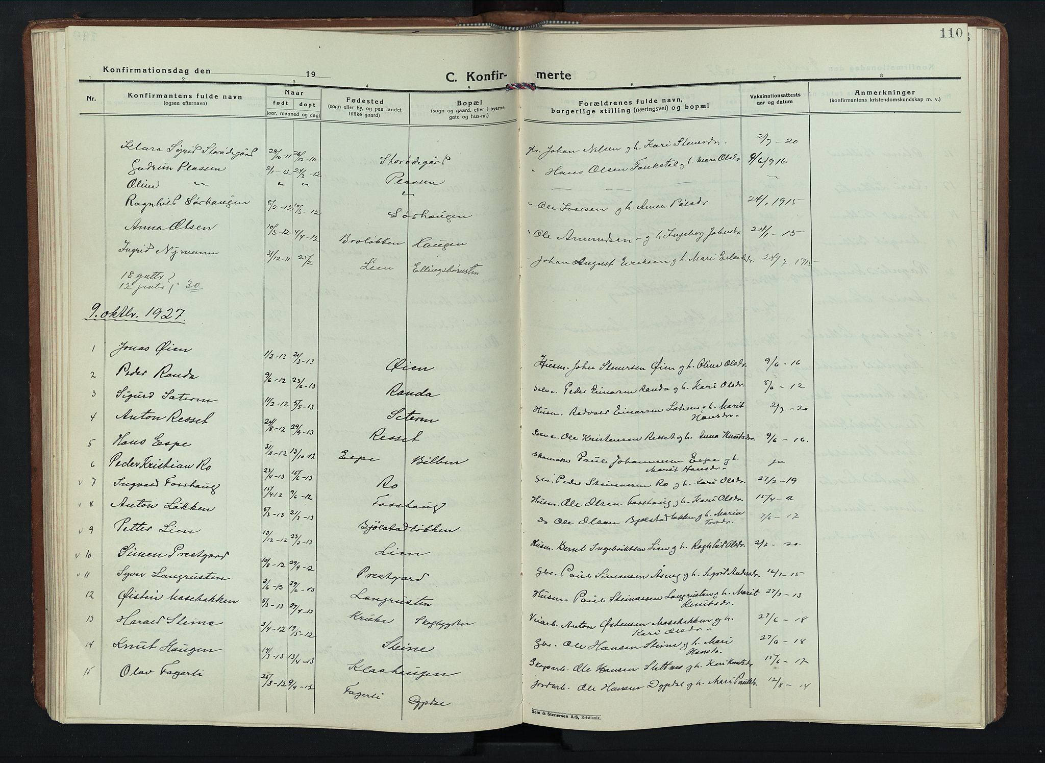 SAH, Sel prestekontor, Parish register (copy) no. 6, 1923-1953, p. 110