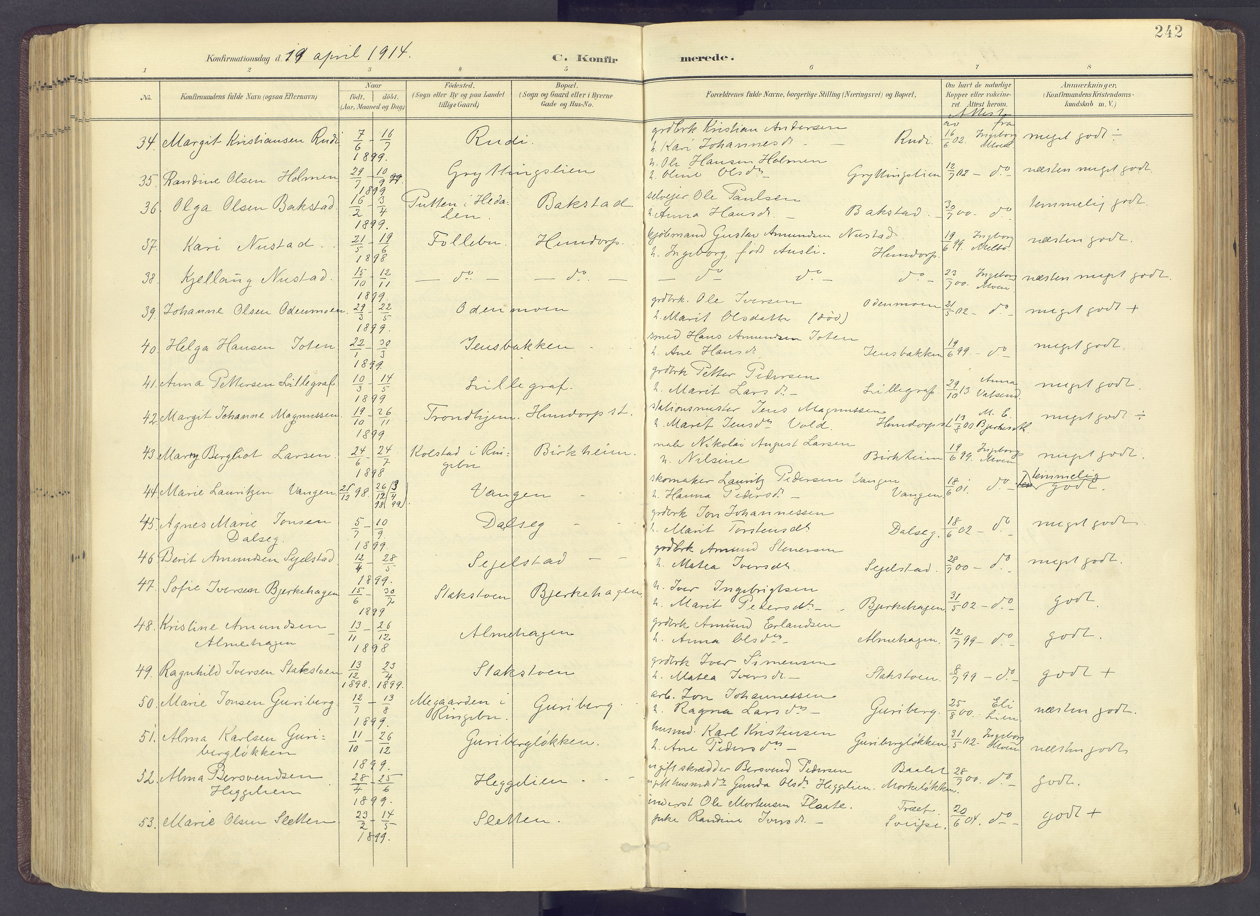 SAH, Sør-Fron prestekontor, H/Ha/Haa/L0004: Parish register (official) no. 4, 1898-1919, p. 242