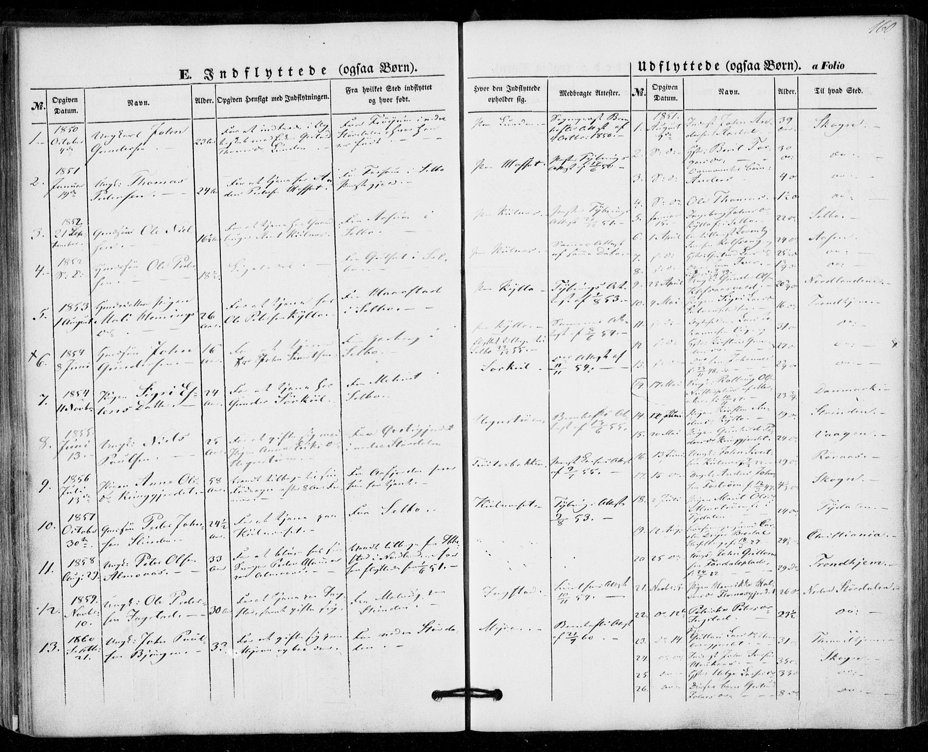 SAT, Ministerialprotokoller, klokkerbøker og fødselsregistre - Nord-Trøndelag, 703/L0028: Parish register (official) no. 703A01, 1850-1862, p. 160