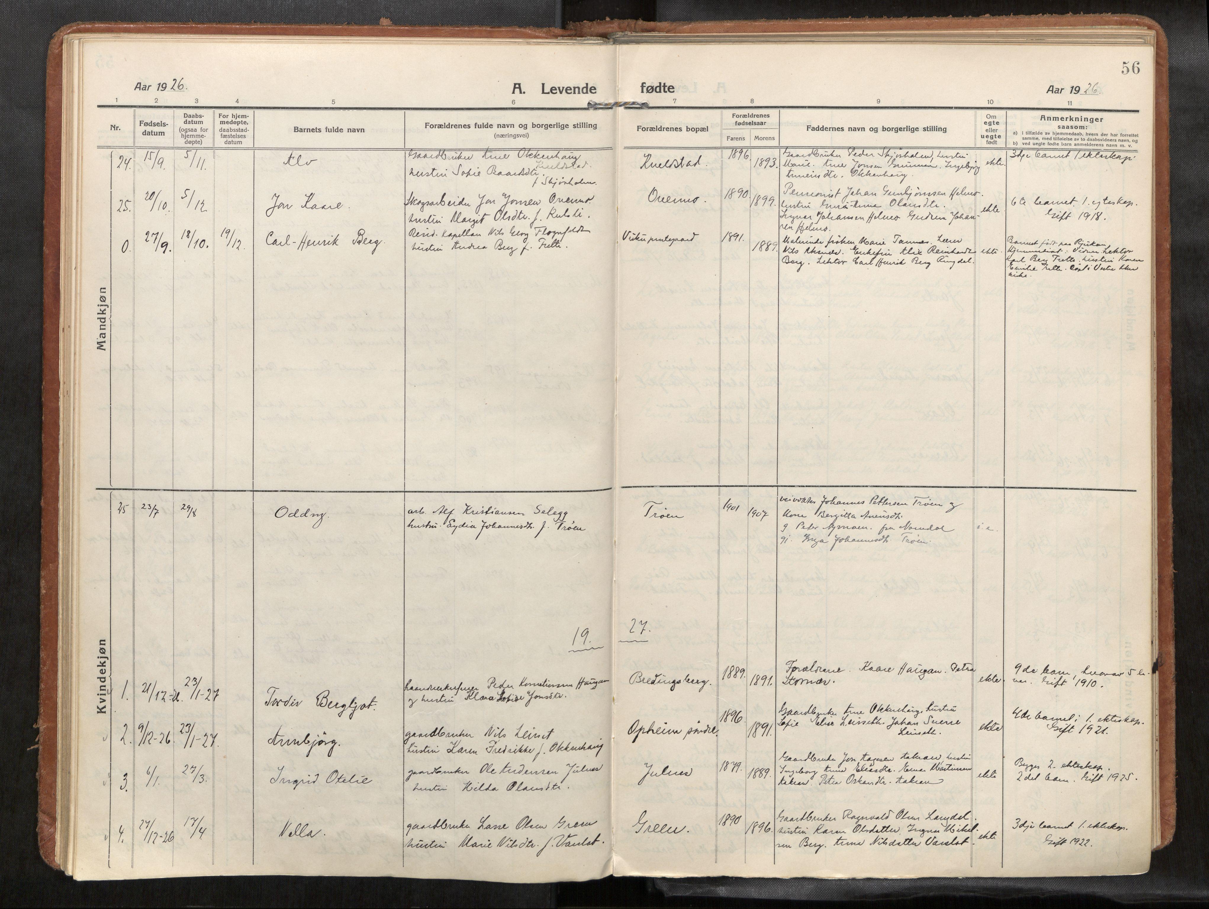 SAT, Verdal sokneprestkontor*, Parish register (official) no. 1, 1916-1928, p. 56