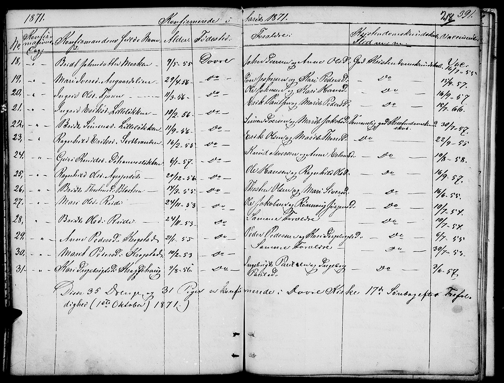 SAH, Dovre prestekontor, Parish register (copy) no. 1, 1862-1880, p. 391