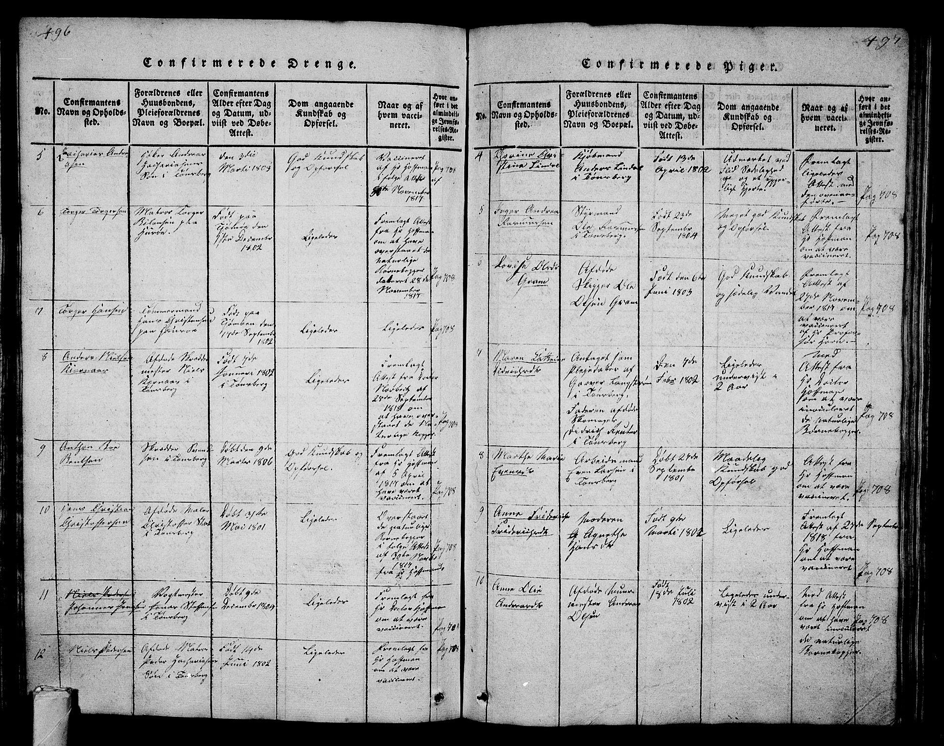 SAKO, Tønsberg kirkebøker, G/Ga/L0001: Parish register (copy) no. 1, 1813-1826, p. 496-497