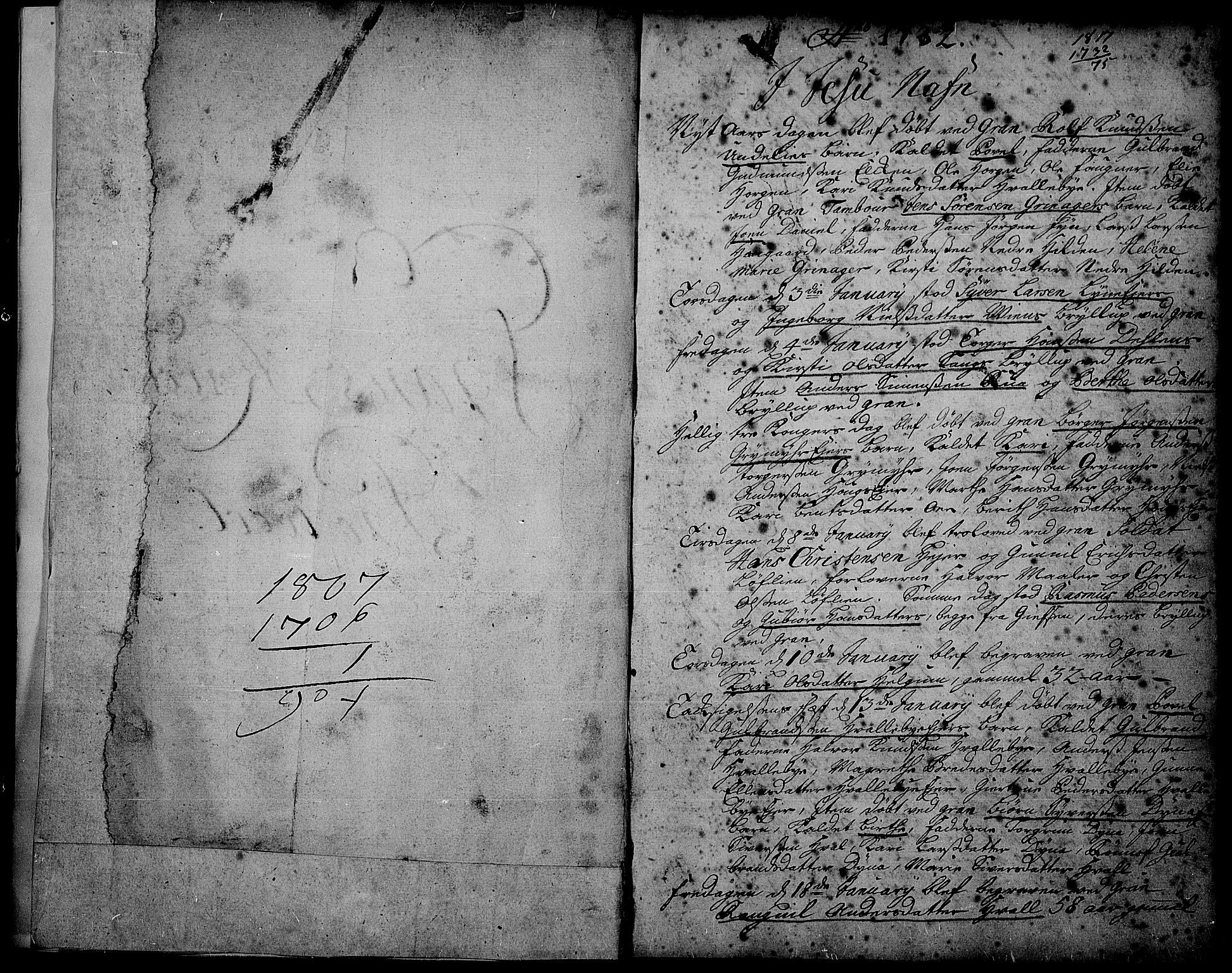 SAH, Gran prestekontor, Parish register (official) no. 2, 1732-1744, p. 1