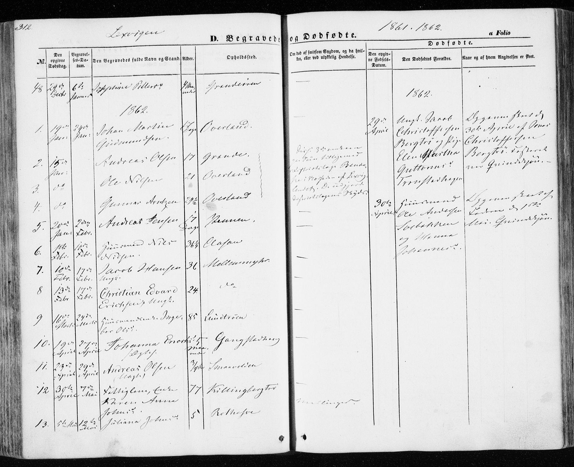 SAT, Ministerialprotokoller, klokkerbøker og fødselsregistre - Nord-Trøndelag, 701/L0008: Parish register (official) no. 701A08 /1, 1854-1863, p. 312
