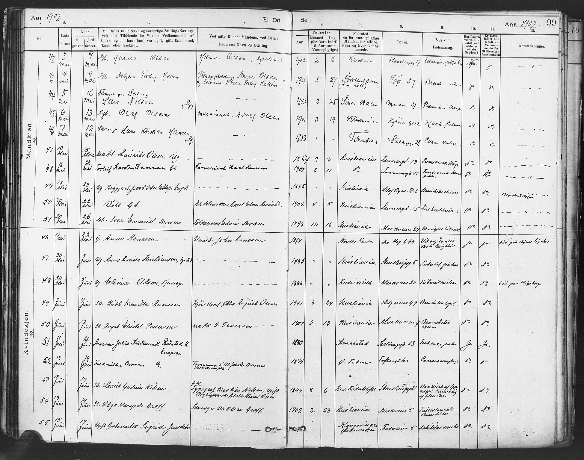 SAO, Paulus prestekontor Kirkebøker, F/Fa/L0012: Parish register (official) no. 12, 1897-1908, p. 99