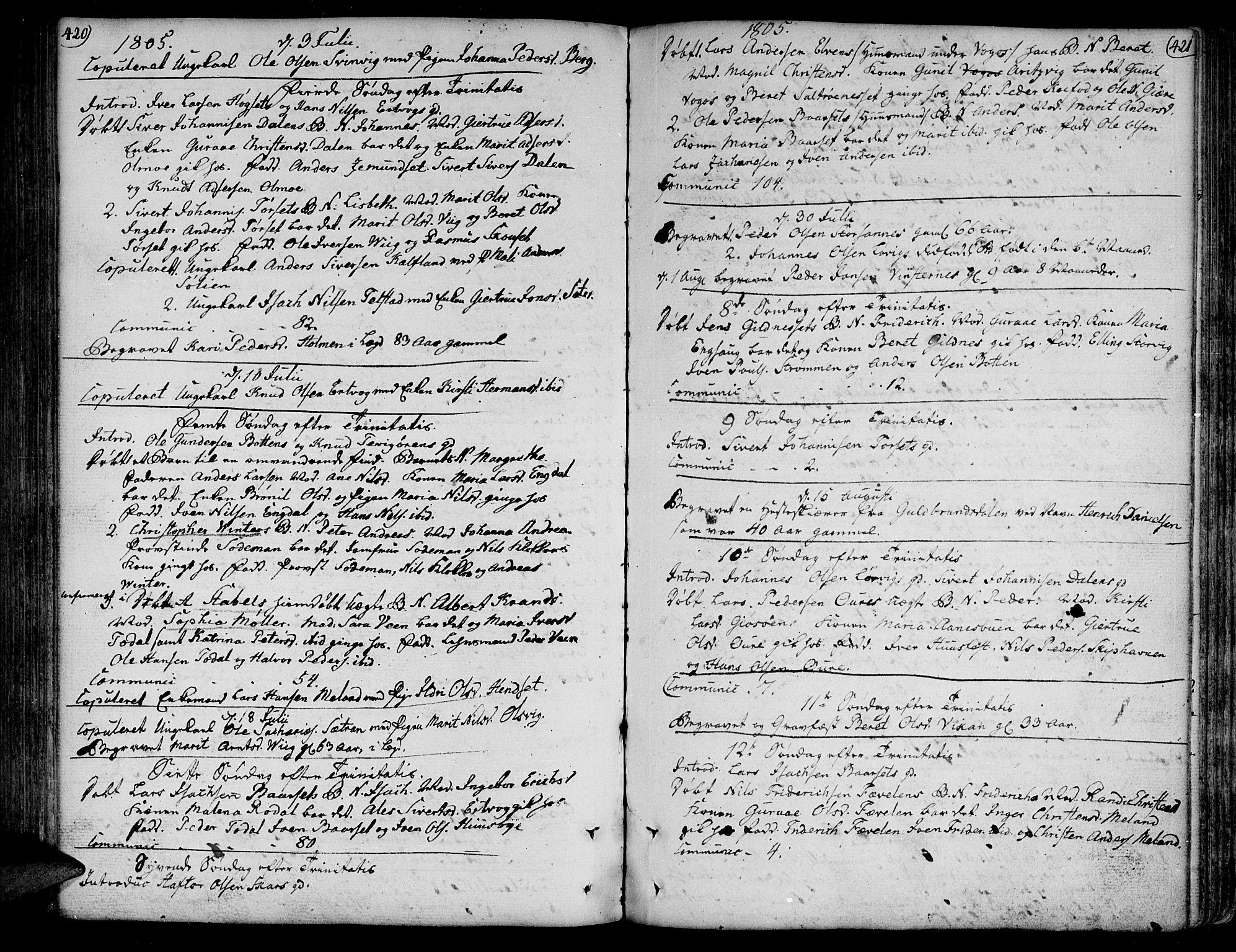 SAT, Ministerialprotokoller, klokkerbøker og fødselsregistre - Møre og Romsdal, 578/L0902: Parish register (official) no. 578A01, 1772-1819, p. 420-421