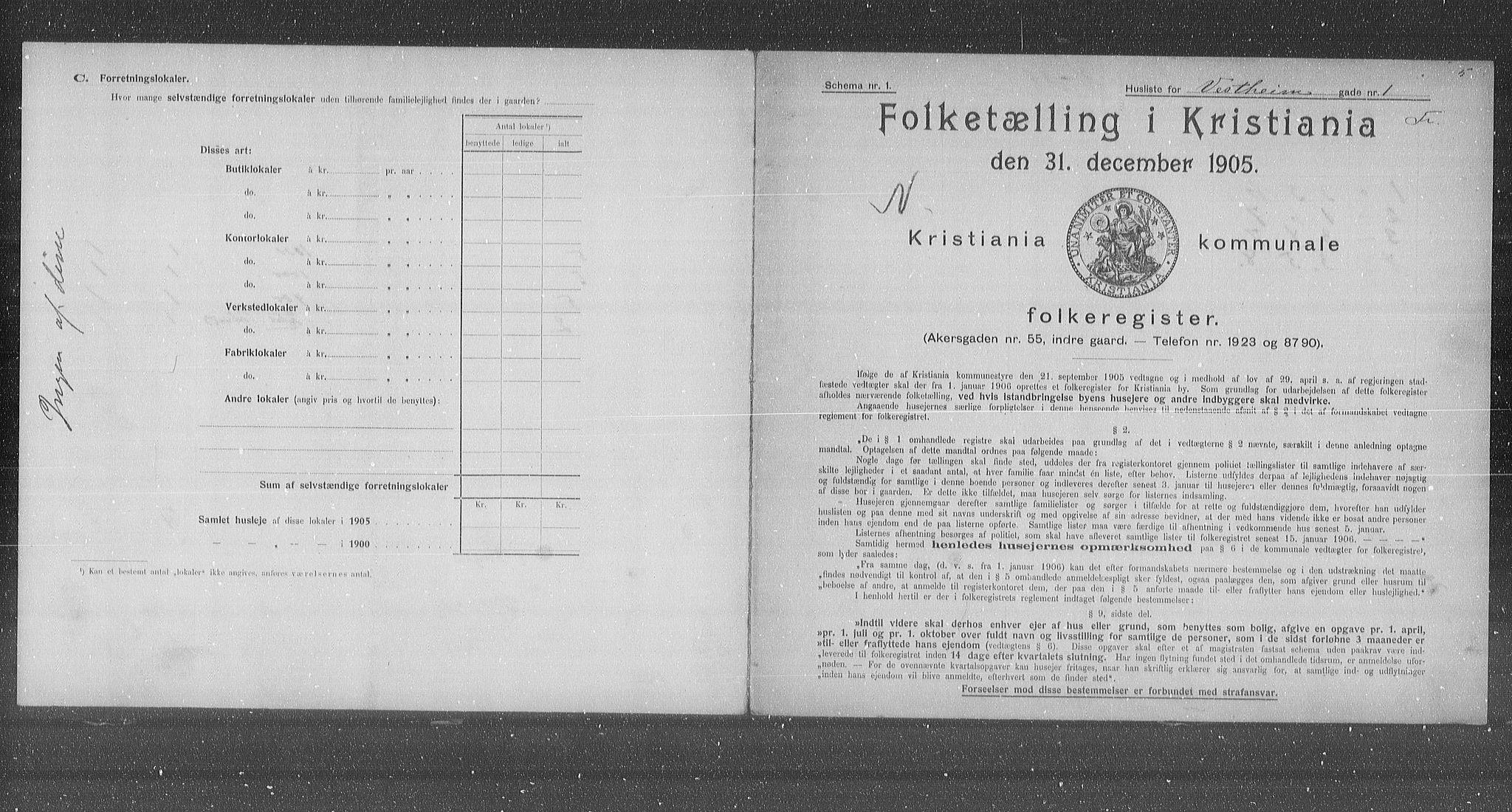 OBA, Municipal Census 1905 for Kristiania, 1905, p. 64377
