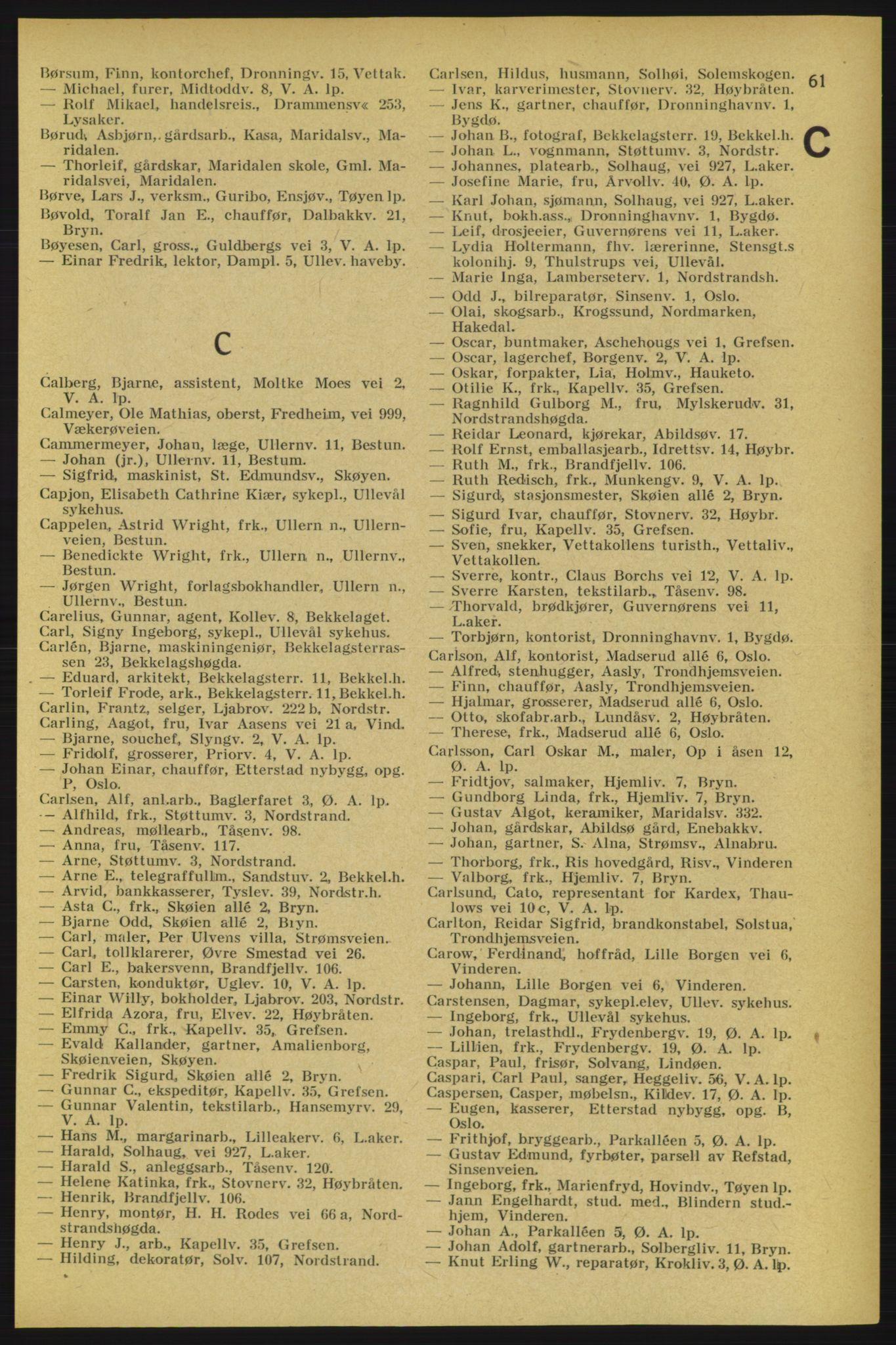 RA, Aker adressebok/adressekalender (publikasjon)*, 1934-1935, p. 61