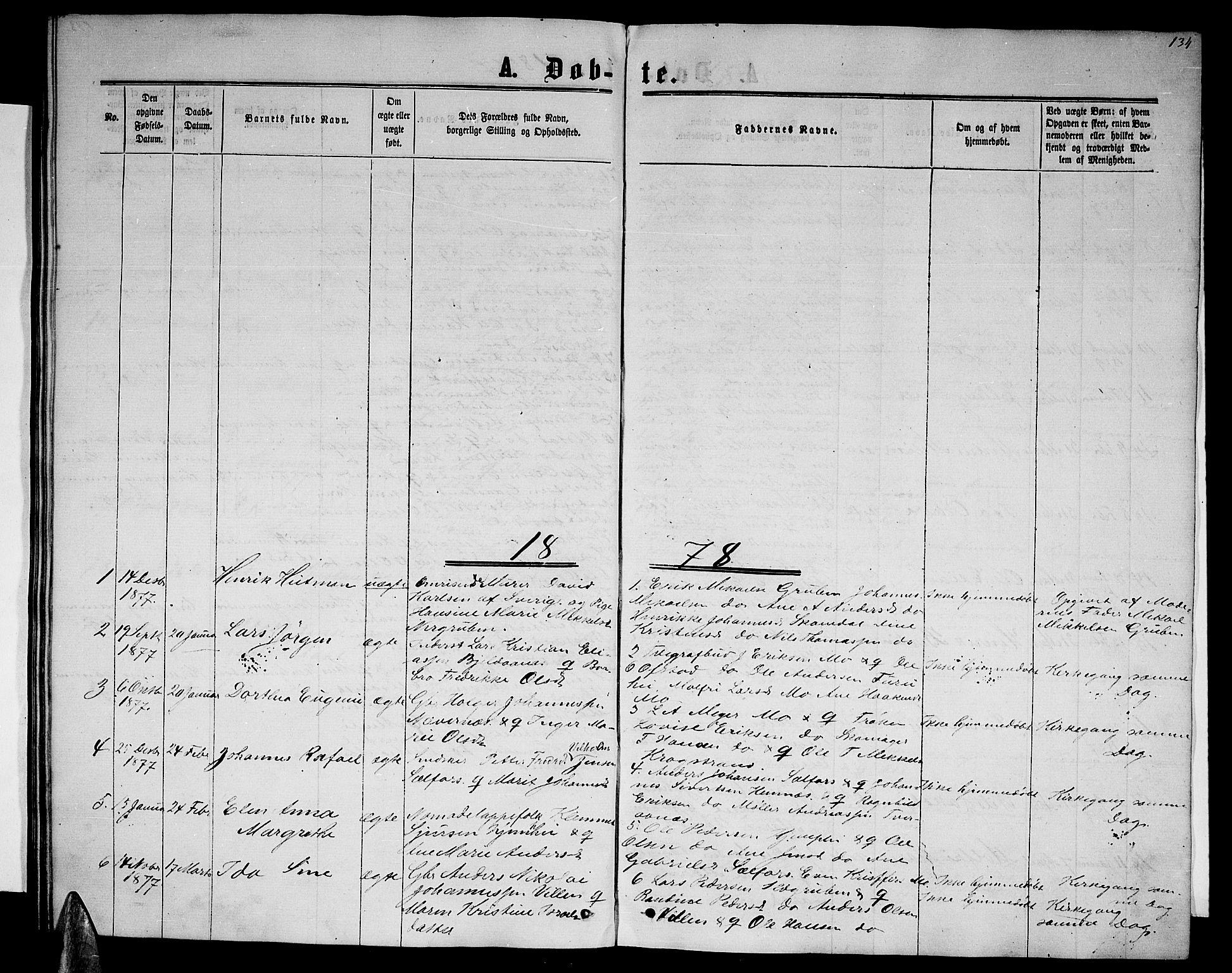 SAT, Ministerialprotokoller, klokkerbøker og fødselsregistre - Nordland, 827/L0415: Parish register (copy) no. 827C04, 1864-1886, p. 134