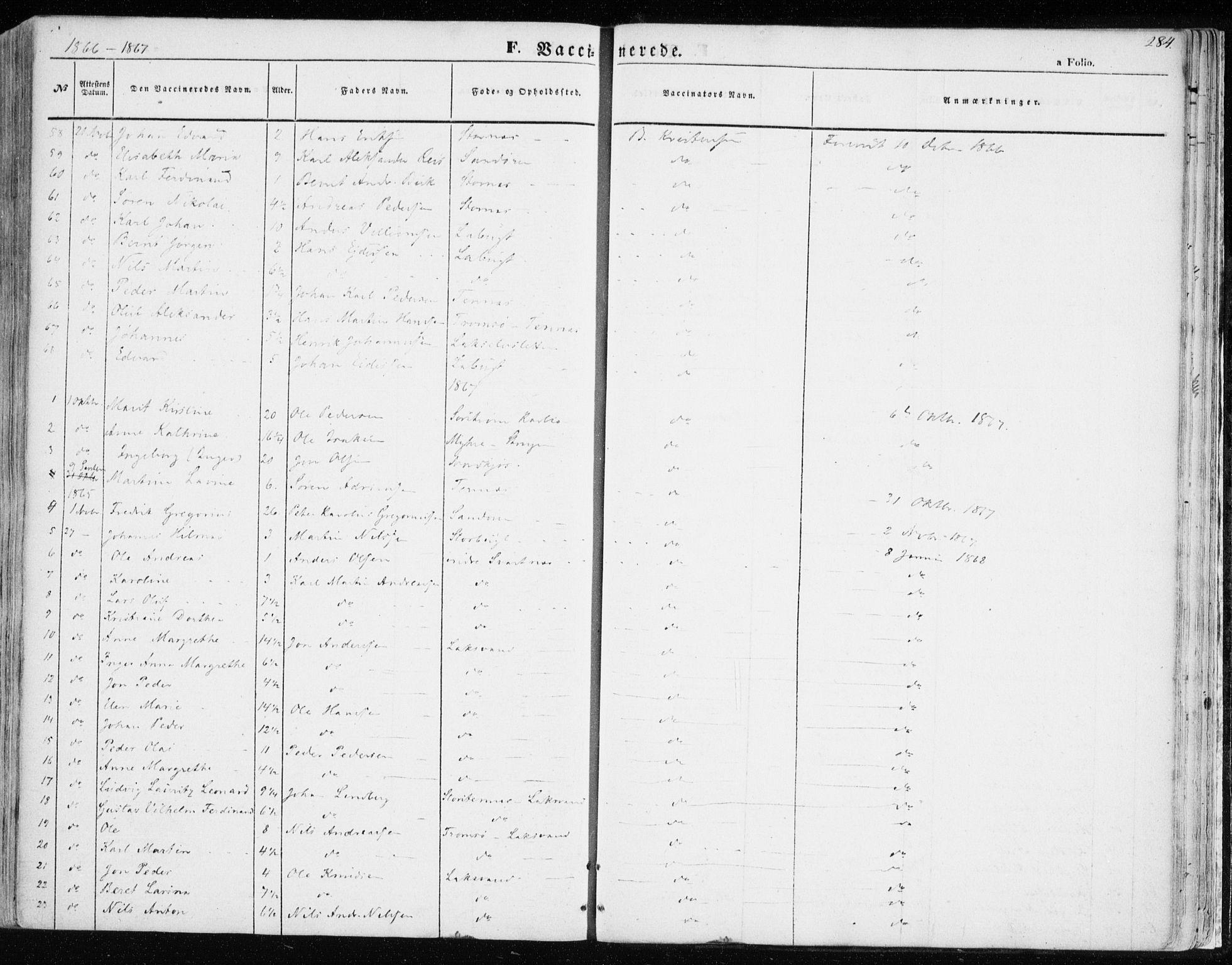 SATØ, Balsfjord sokneprestembete, Parish register (official) no. 3, 1856-1870, p. 284