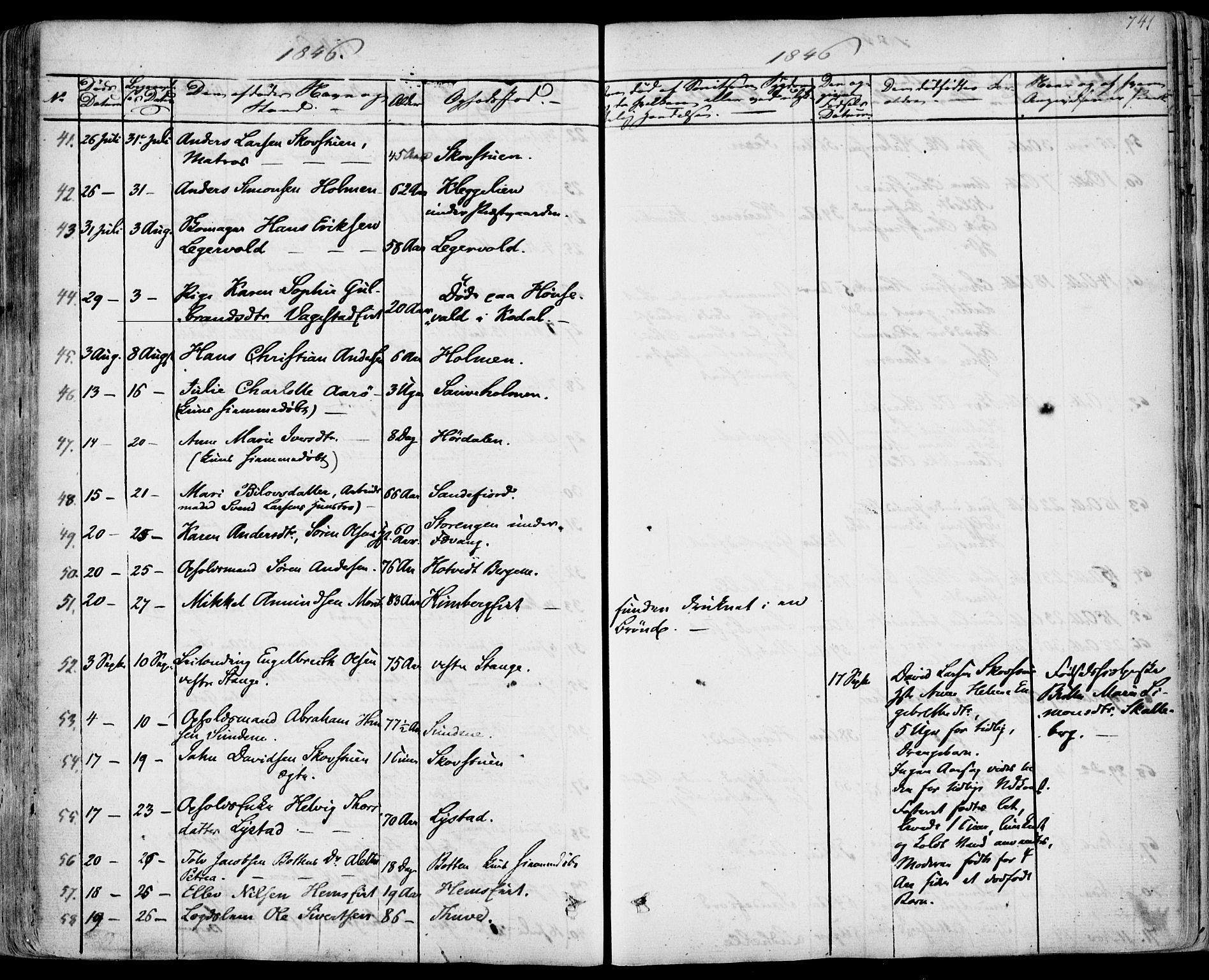 SAKO, Sandar kirkebøker, F/Fa/L0005: Parish register (official) no. 5, 1832-1847, p. 740-741