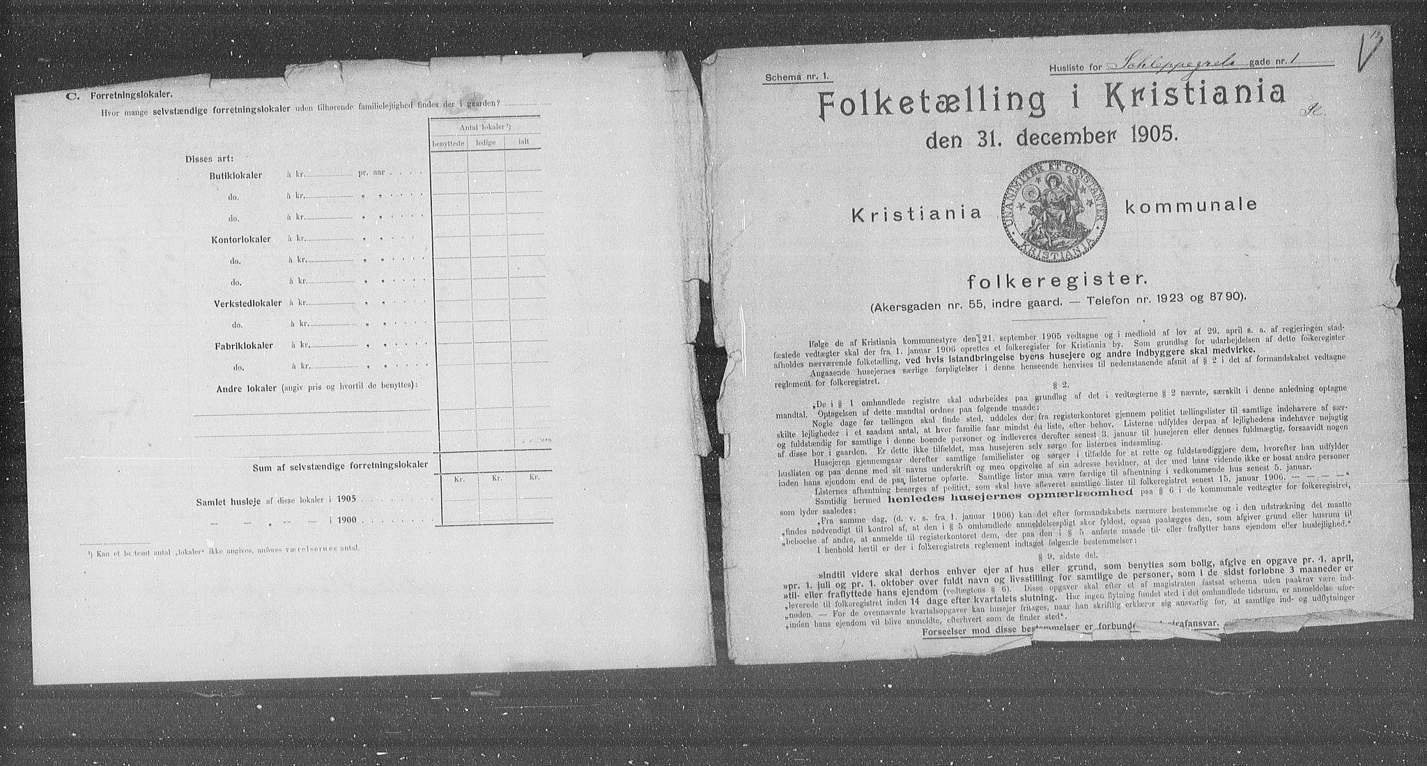 OBA, Municipal Census 1905 for Kristiania, 1905, p. 46583