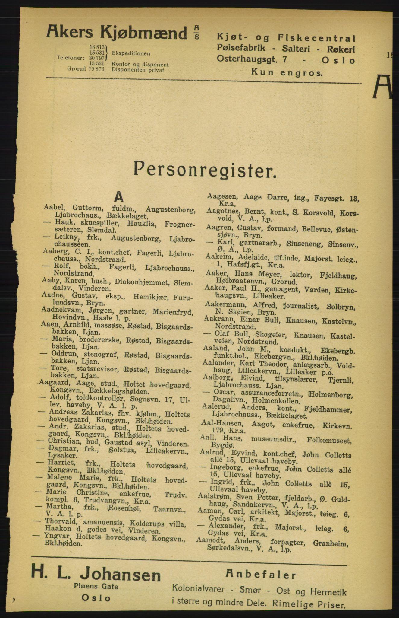 RA, Aker adressebok/adressekalender (publikasjon)*, 1924-1925, p. 15