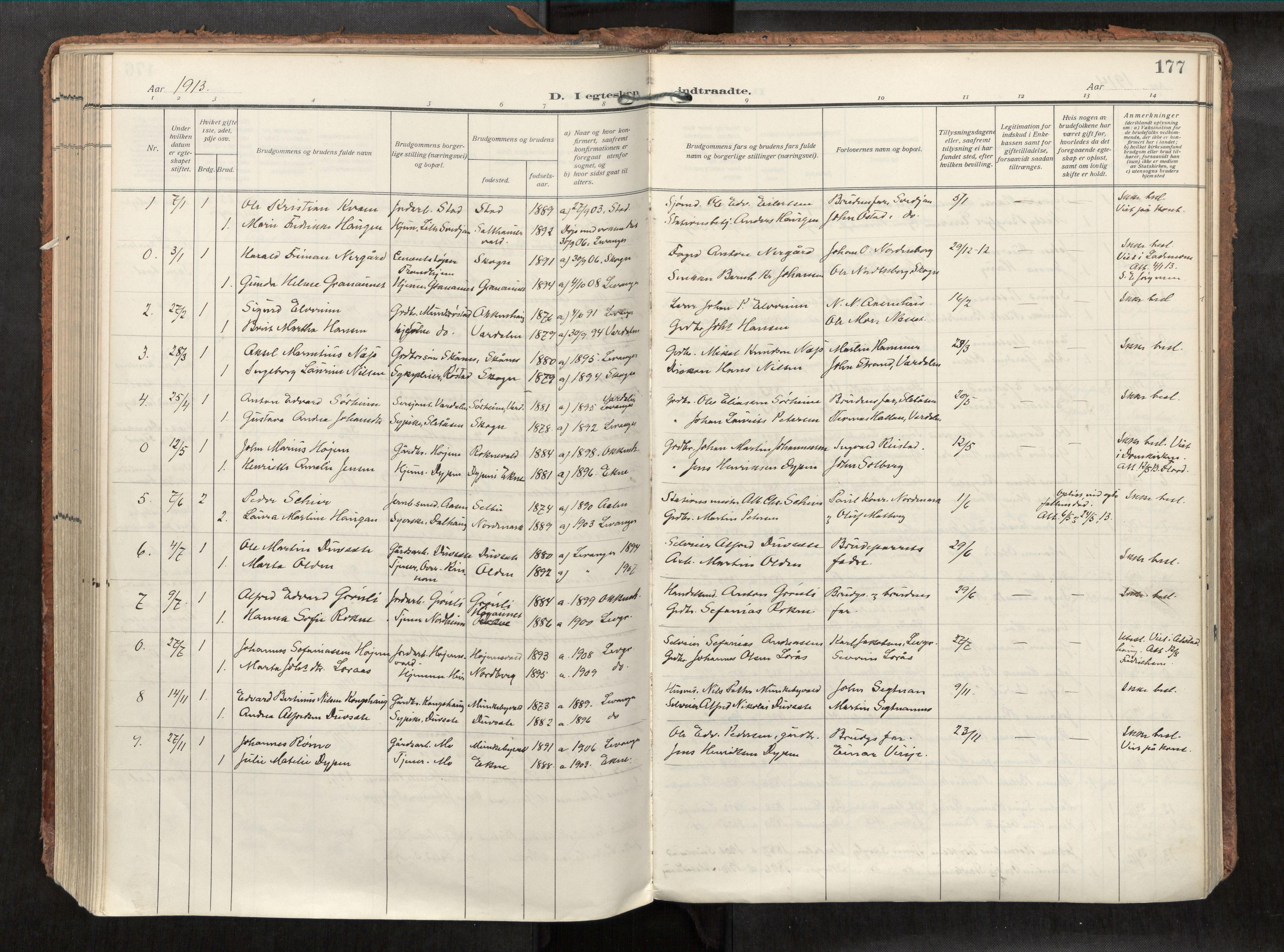 SAT, Levanger sokneprestkontor*, Parish register (official) no. 1, 1912-1935, p. 177