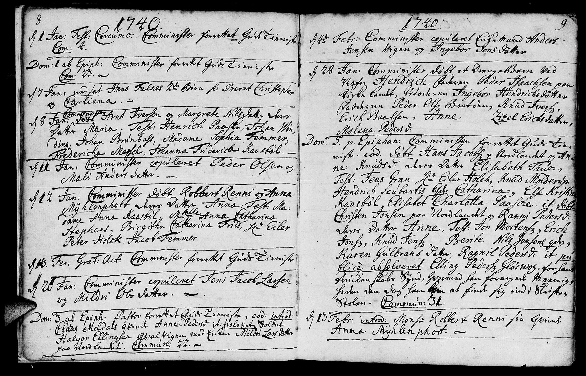 SAT, Ministerialprotokoller, klokkerbøker og fødselsregistre - Møre og Romsdal, 572/L0839: Parish register (official) no. 572A02, 1739-1754, p. 8-9
