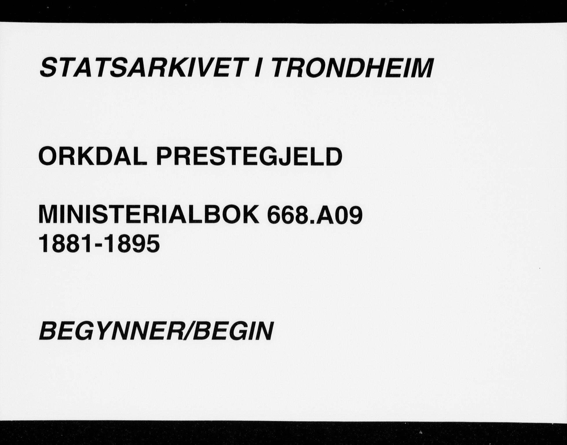 SAT, Ministerialprotokoller, klokkerbøker og fødselsregistre - Sør-Trøndelag, 668/L0809: Parish register (official) no. 668A09, 1881-1895