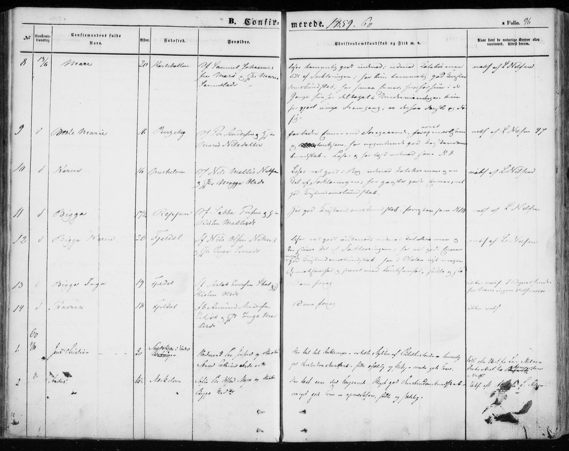 SATØ, Nesseby sokneprestkontor, H/Ha/L0002kirke: Parish register (official) no. 2, 1856-1864, p. 96