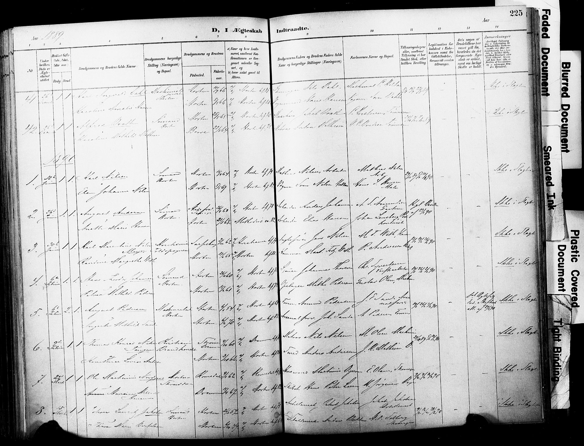 SAKO, Horten kirkebøker, F/Fa/L0004: Parish register (official) no. 4, 1888-1895, p. 225