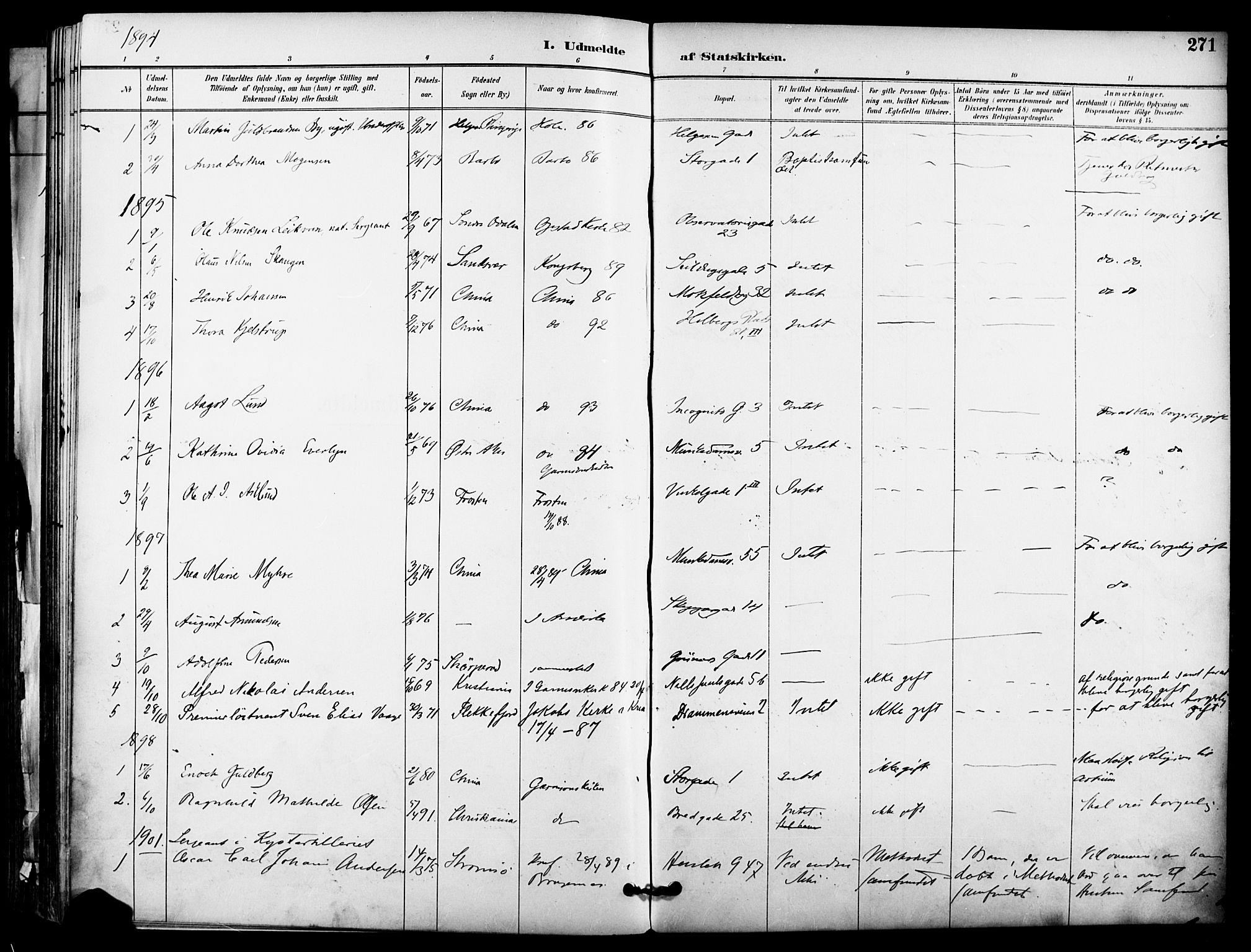 SAO, Garnisonsmenigheten Kirkebøker, F/Fa/L0013: Parish register (official) no. 13, 1894-1904, p. 271