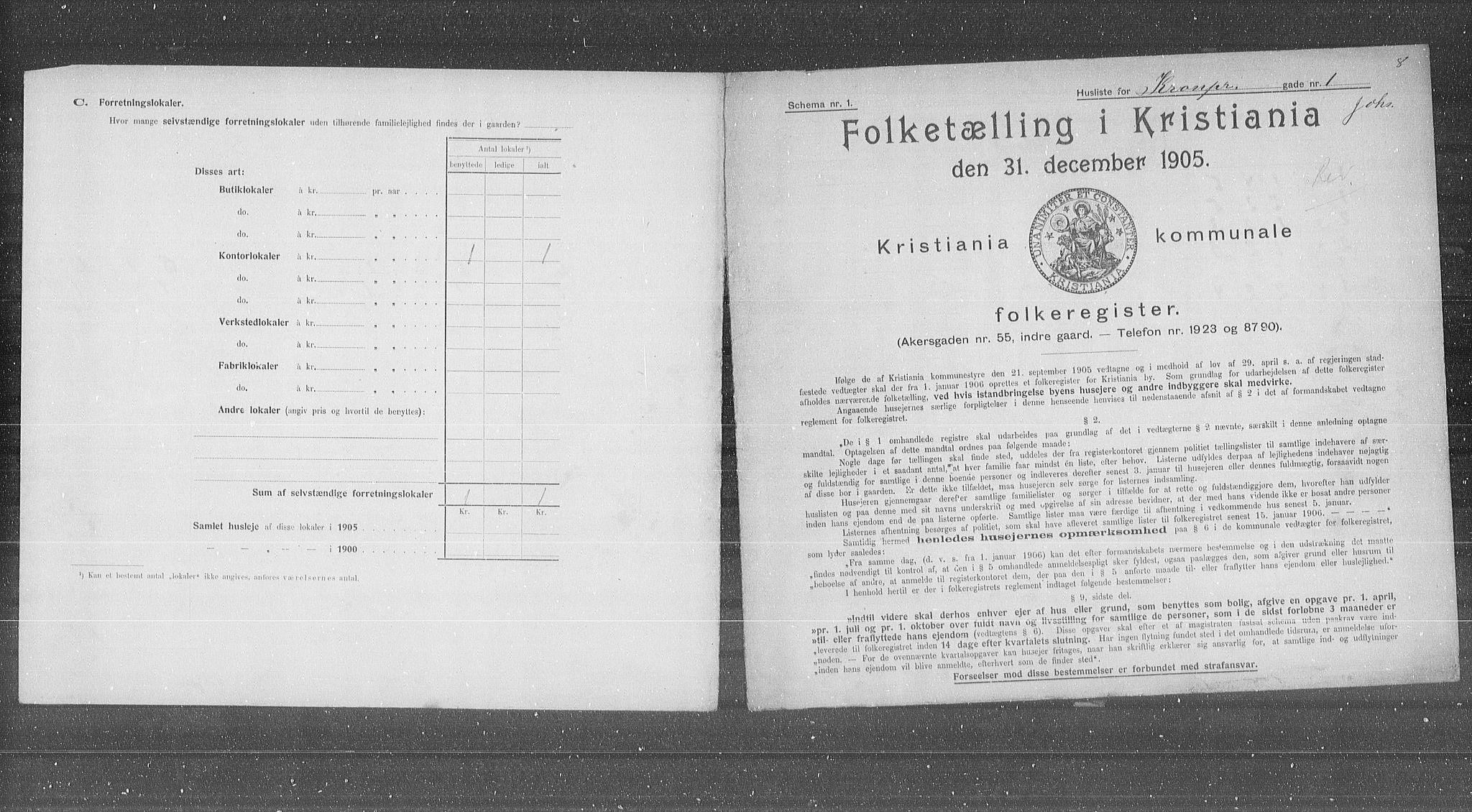 OBA, Municipal Census 1905 for Kristiania, 1905, p. 28762