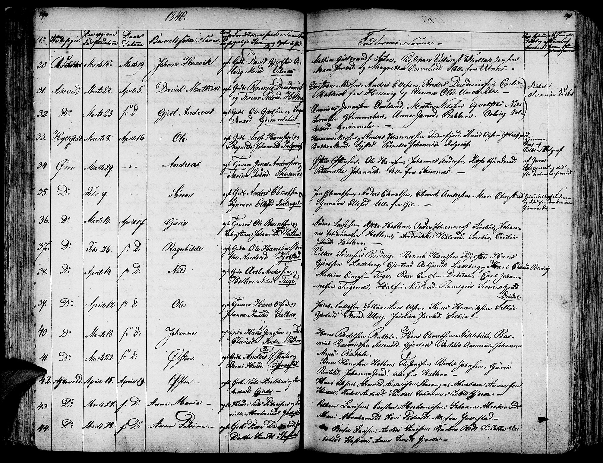 SAB, Askvoll Sokneprestembete, Parish register (official) no. A 10, 1821-1844, p. 190-191