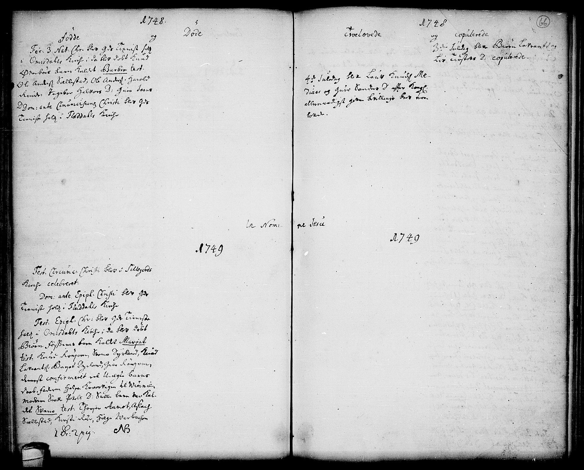 SAKO, Seljord kirkebøker, F/Fa/L0006: Parish register (official) no. I 6, 1744-1755, p. 66
