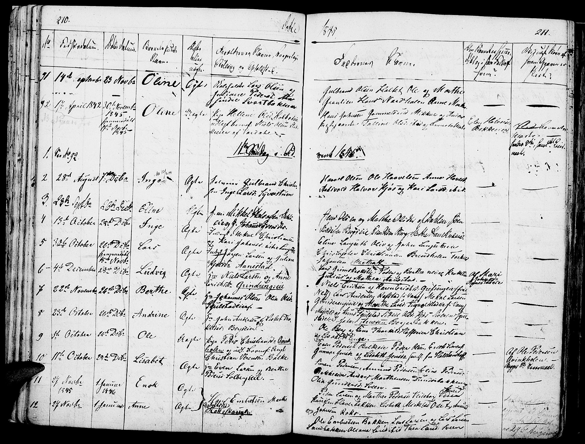 SAH, Løten prestekontor, K/Ka/L0006: Parish register (official) no. 6, 1832-1849, p. 210-211