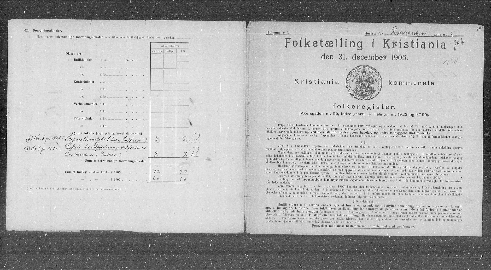 OBA, Municipal Census 1905 for Kristiania, 1905, p. 22511