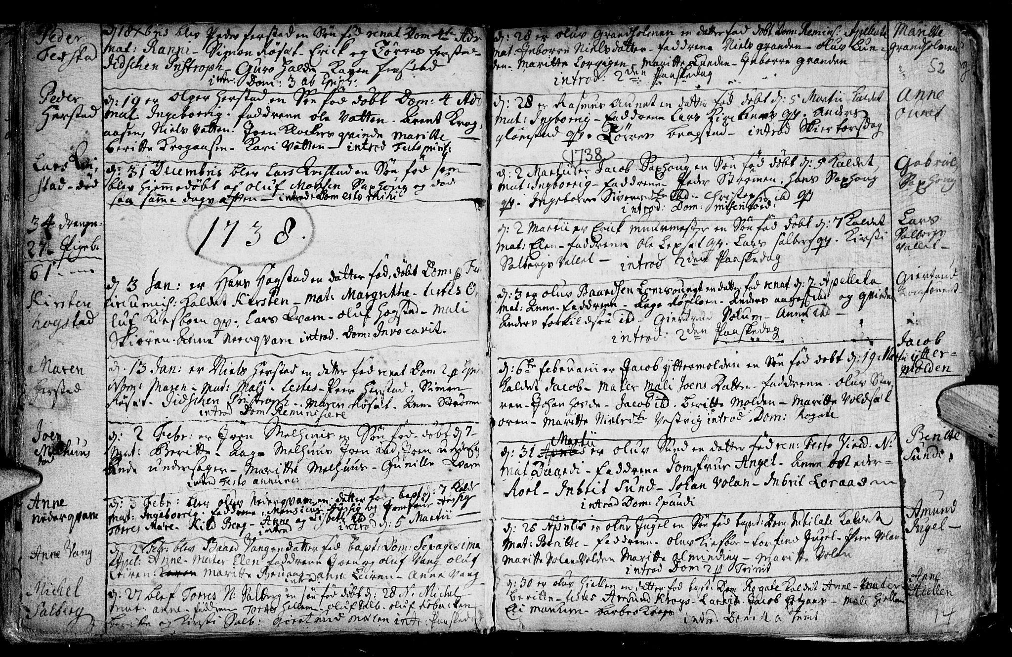 SAT, Ministerialprotokoller, klokkerbøker og fødselsregistre - Nord-Trøndelag, 730/L0272: Parish register (official) no. 730A01, 1733-1764, p. 52