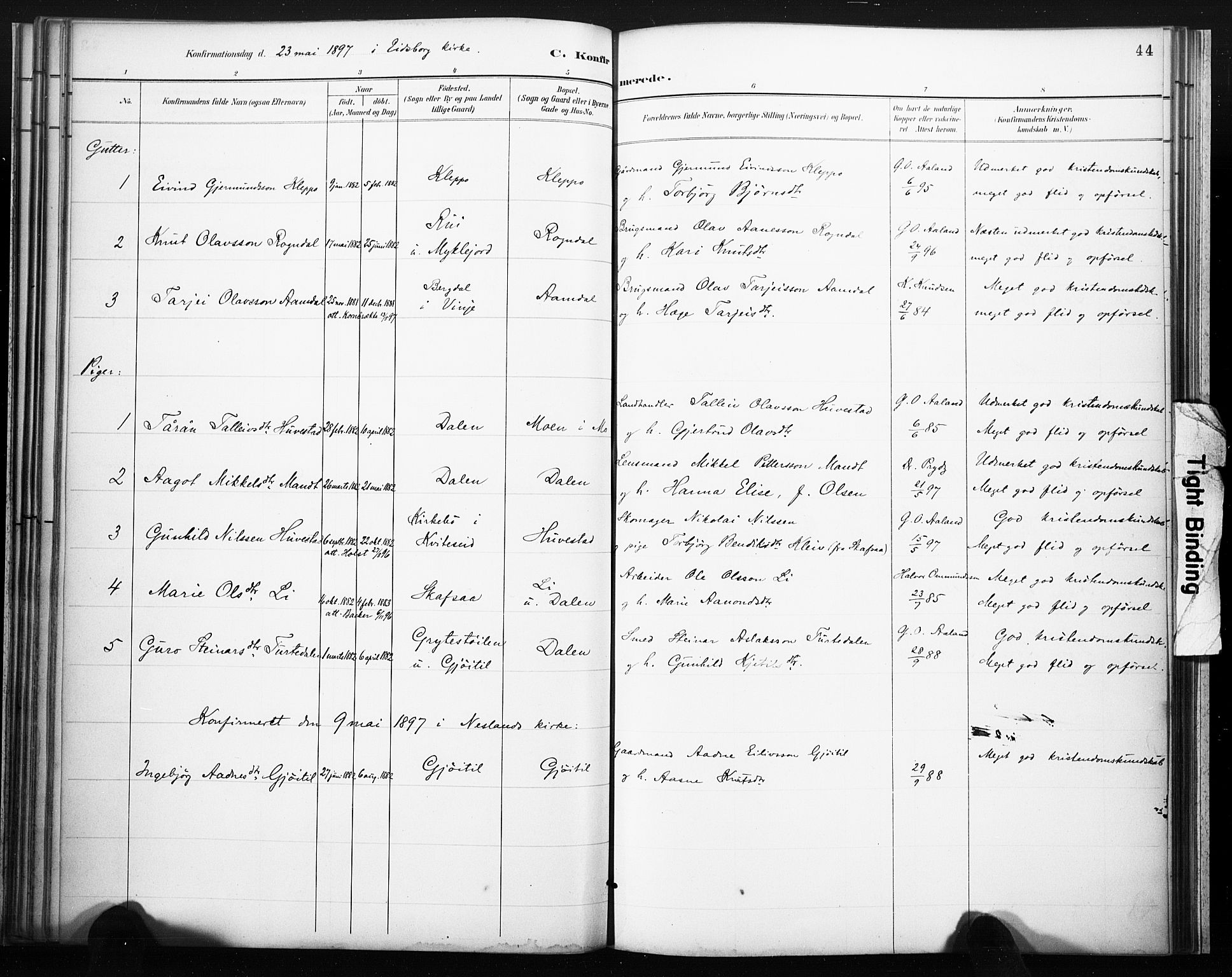 SAKO, Lårdal kirkebøker, F/Fb/L0002: Parish register (official) no. II 2, 1887-1918, p. 44