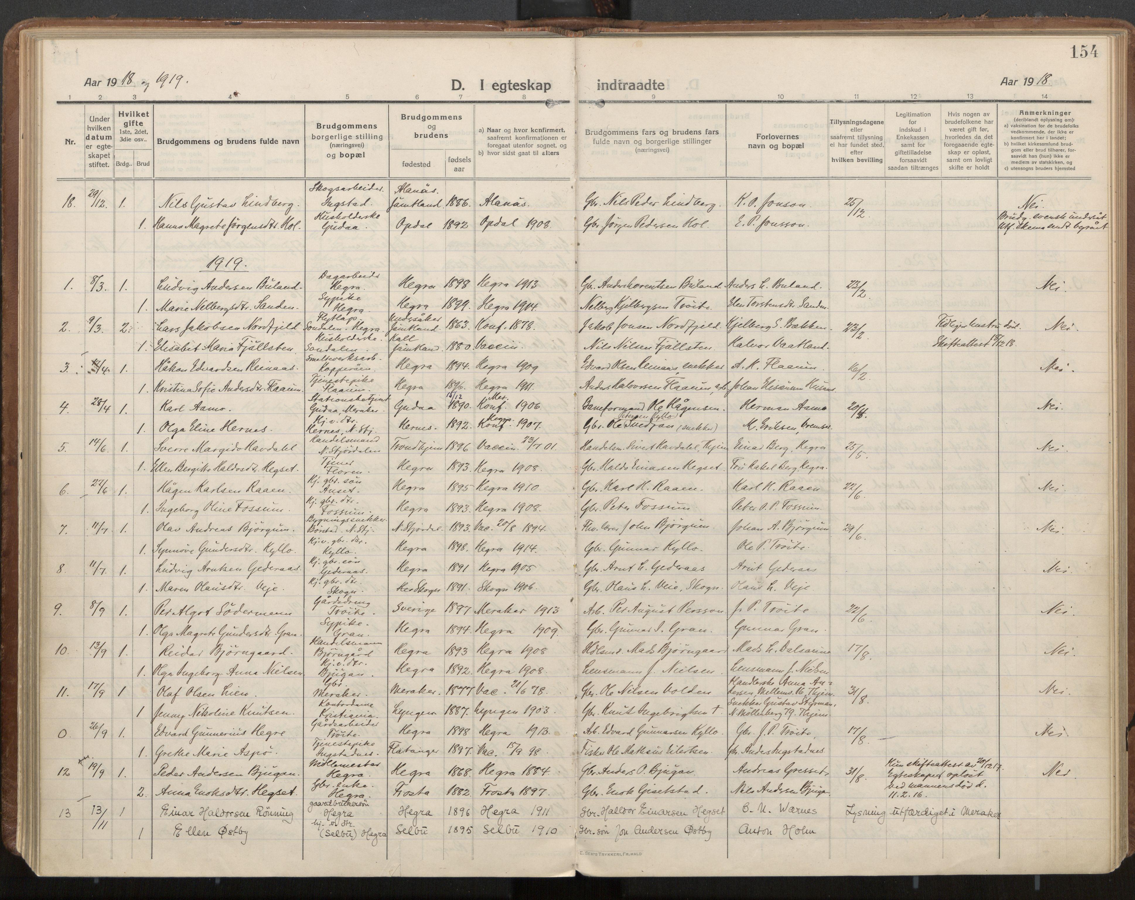 SAT, Ministerialprotokoller, klokkerbøker og fødselsregistre - Nord-Trøndelag, 703/L0037: Parish register (official) no. 703A10, 1915-1932, p. 154