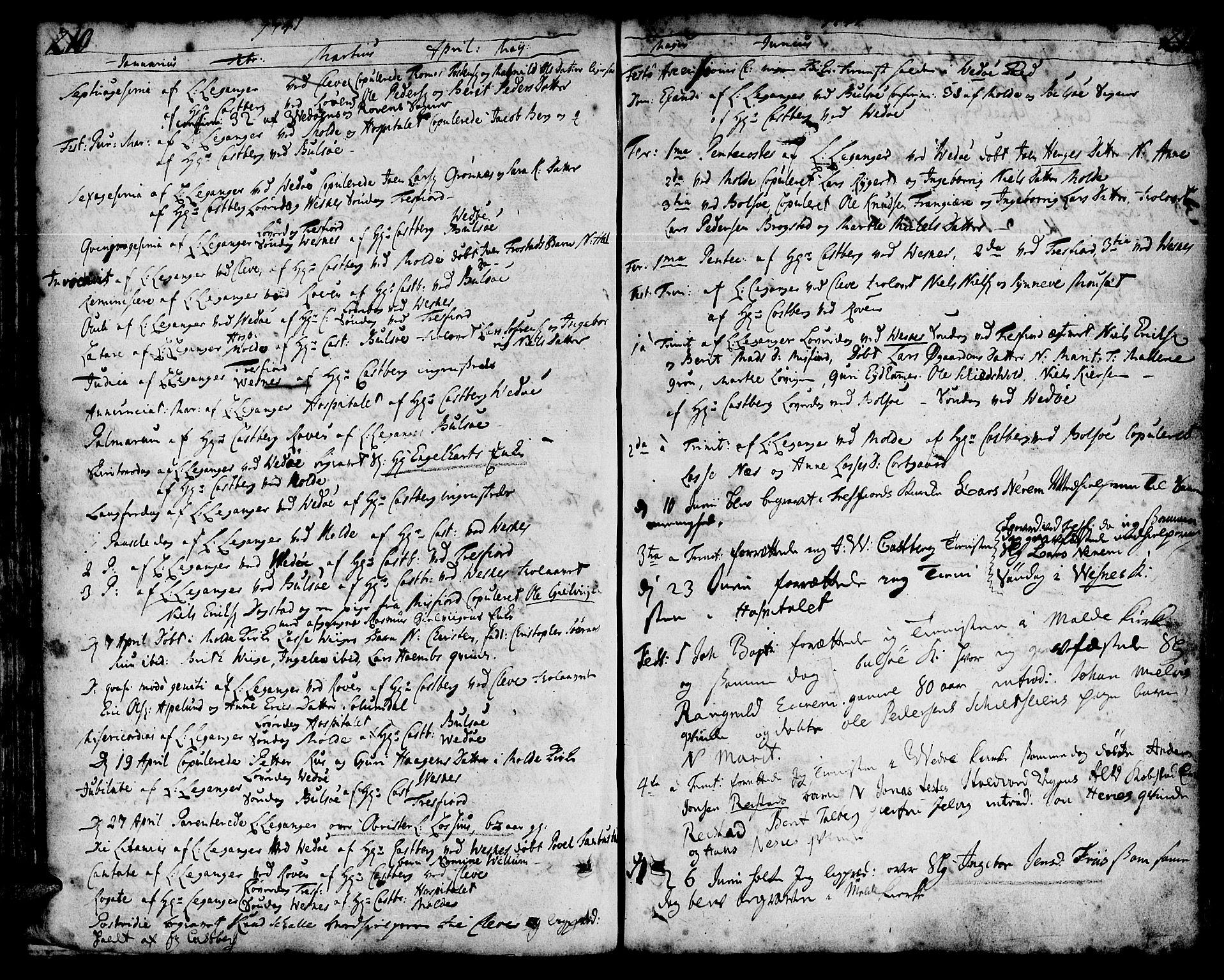 SAT, Ministerialprotokoller, klokkerbøker og fødselsregistre - Møre og Romsdal, 547/L0599: Parish register (official) no. 547A01, 1721-1764, p. 210-211