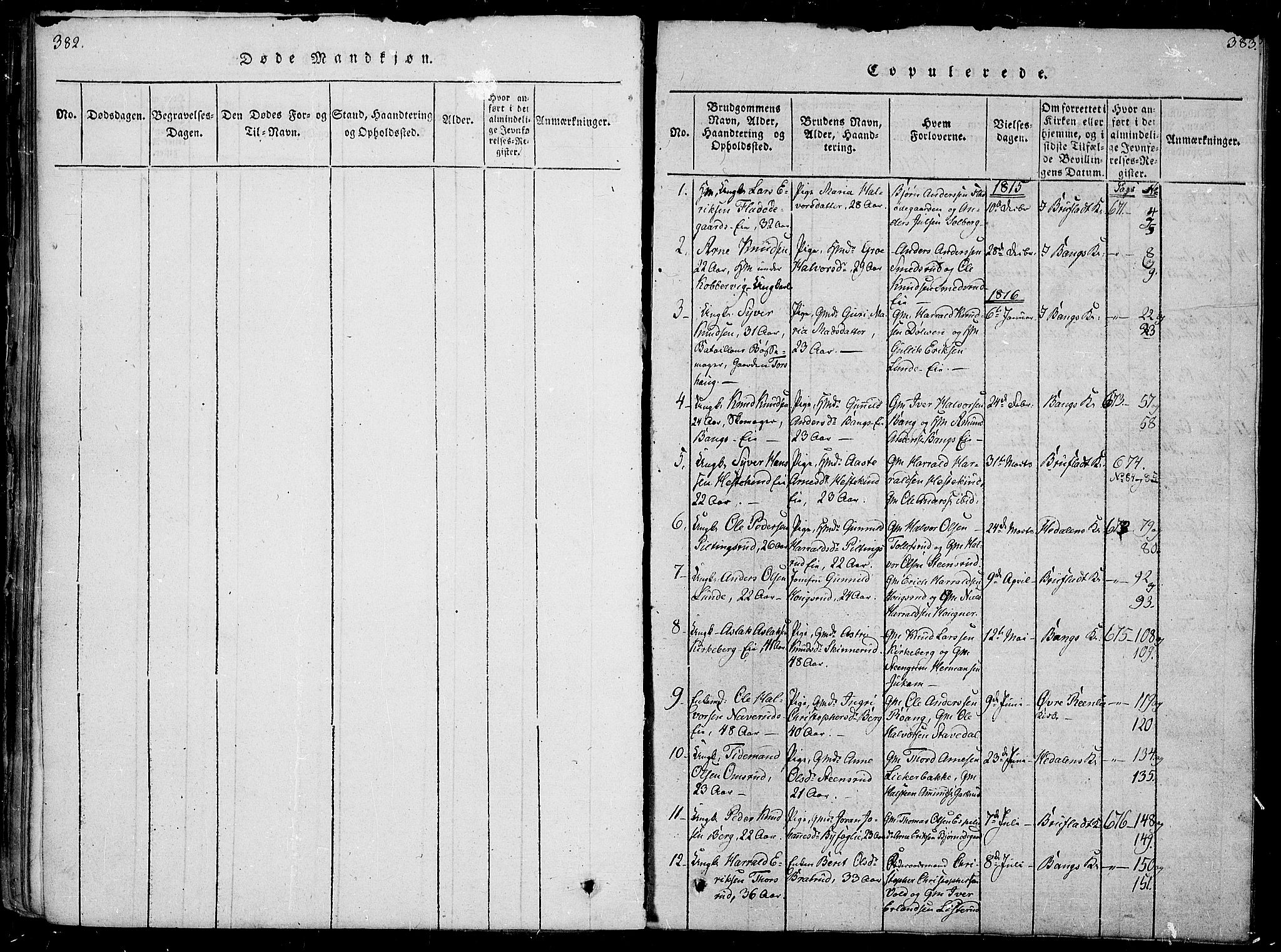 SAH, Sør-Aurdal prestekontor, Parish register (official) no. 2, 1815-1840, p. 382-383