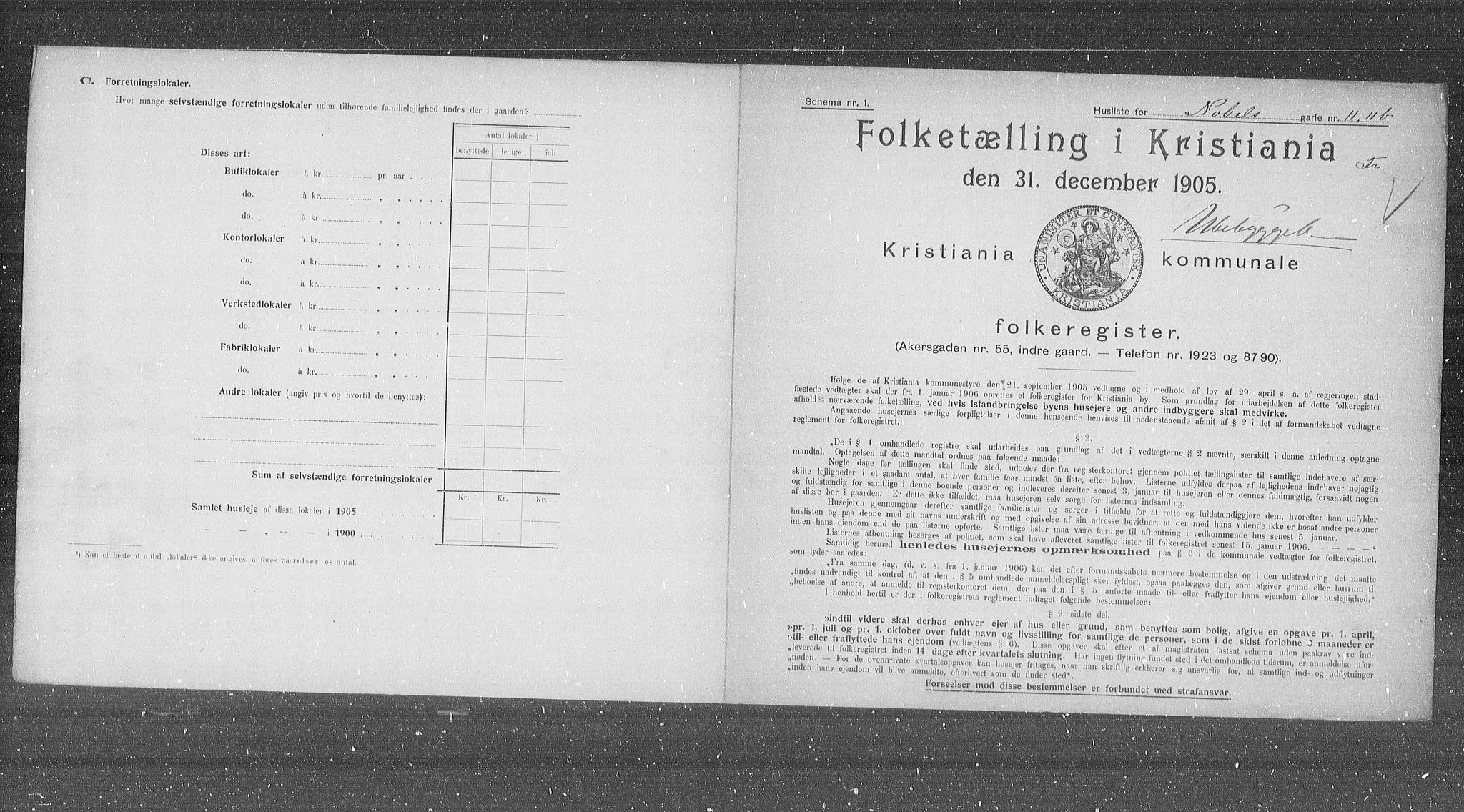 OBA, Municipal Census 1905 for Kristiania, 1905, p. 37483
