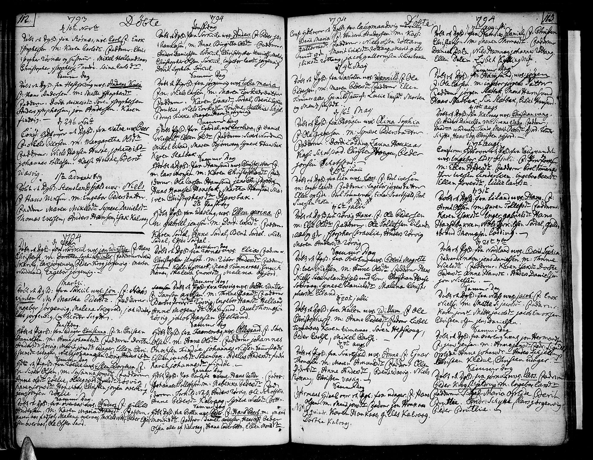 SAT, Ministerialprotokoller, klokkerbøker og fødselsregistre - Nordland, 859/L0841: Parish register (official) no. 859A01, 1766-1821, p. 112-113