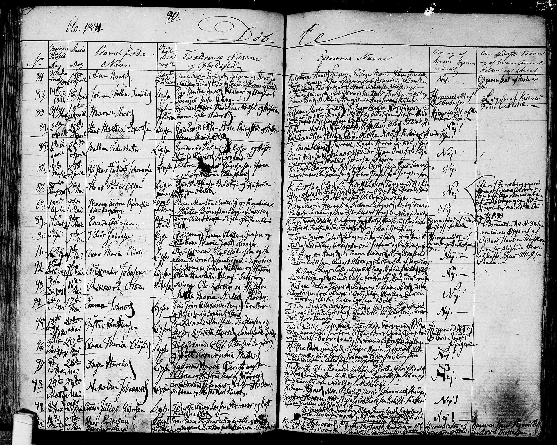 SAO, Tune prestekontor Kirkebøker, F/Fa/L0008: Parish register (official) no. 8, 1837-1841, p. 90
